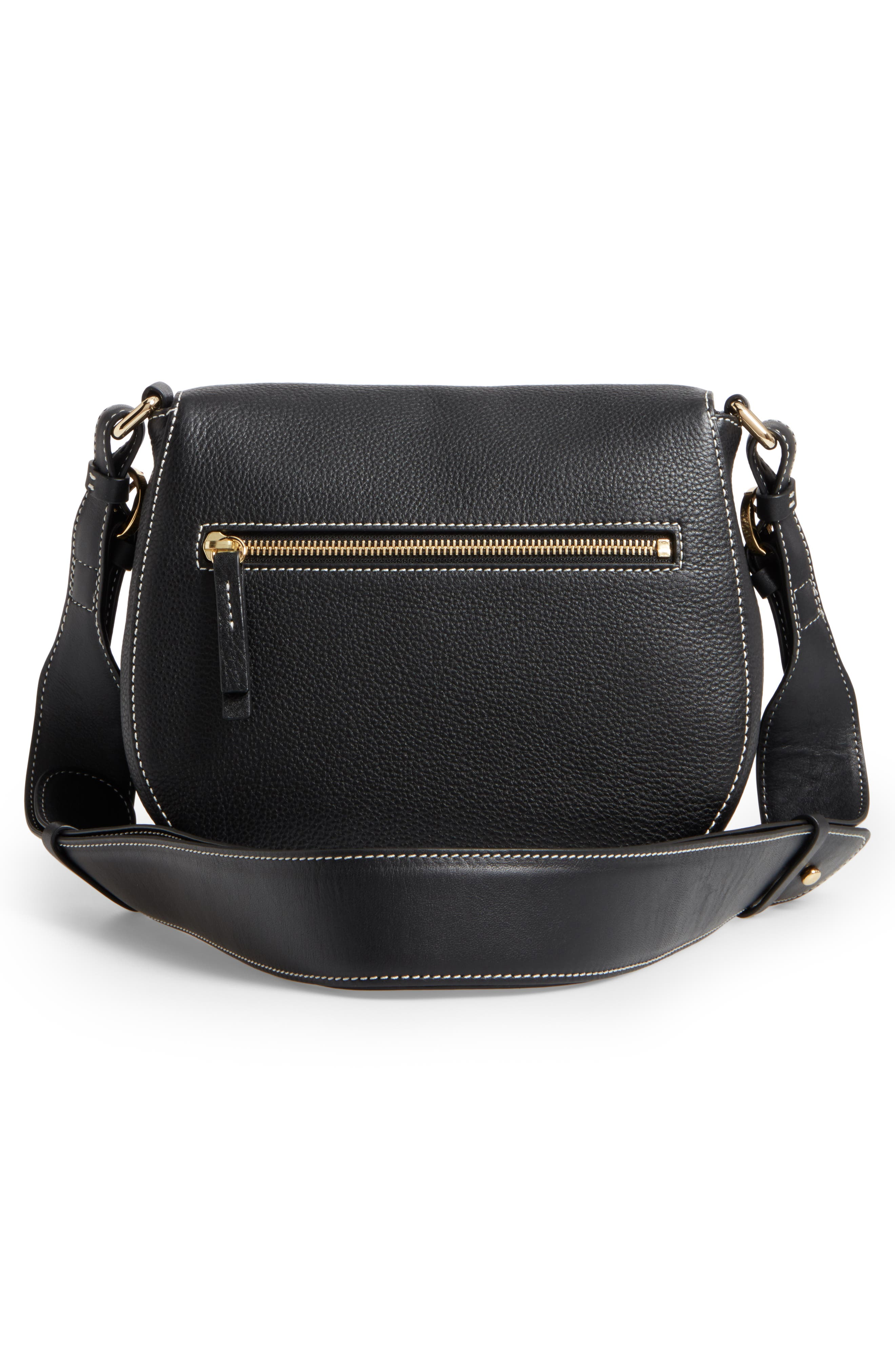 Small Ellen Leather Crossbody Bag,                             Alternate thumbnail 3, color,                             001