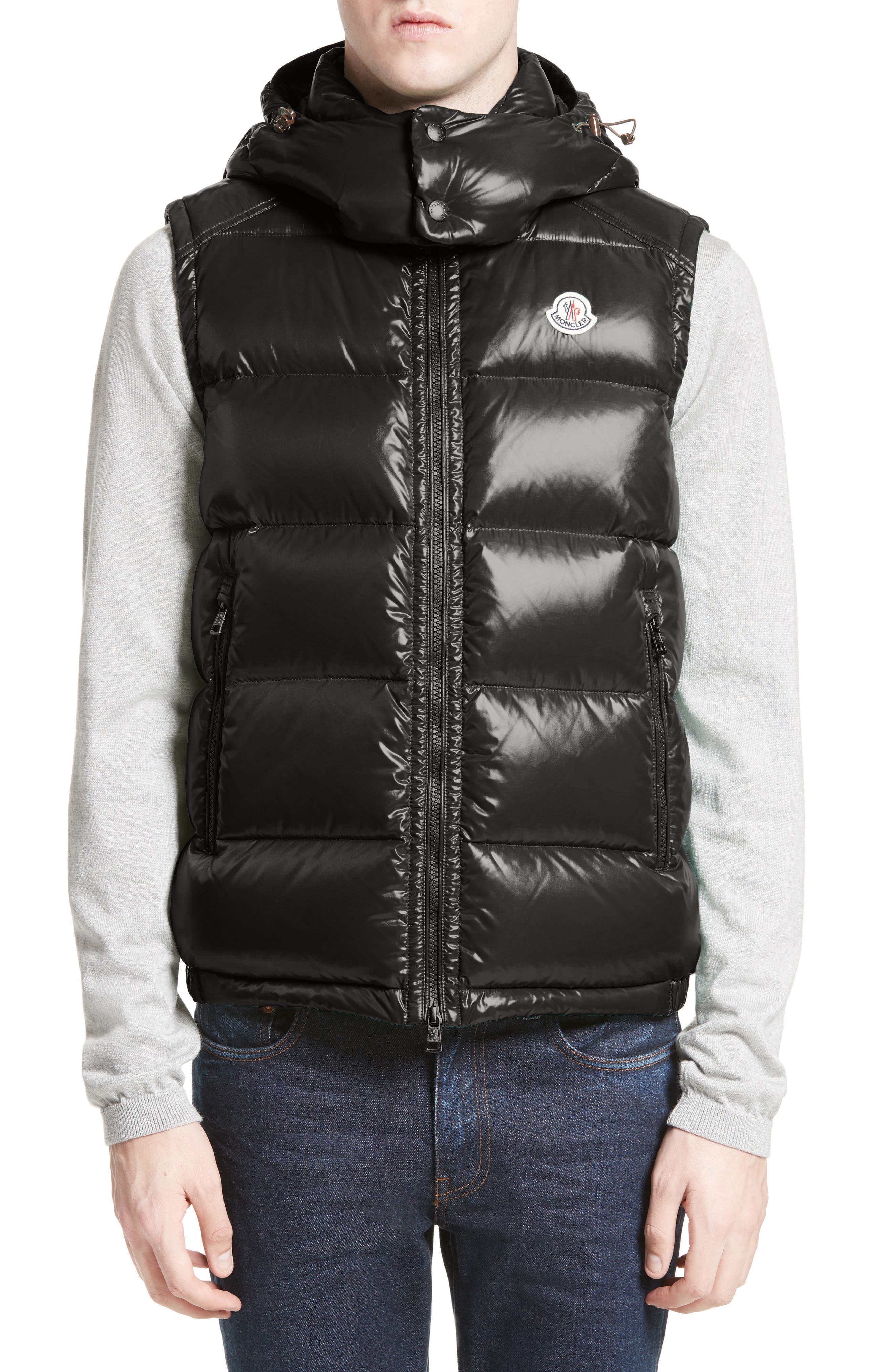 Lacet Lacquered Hooded Down Vest,                             Main thumbnail 1, color,                             BLACK