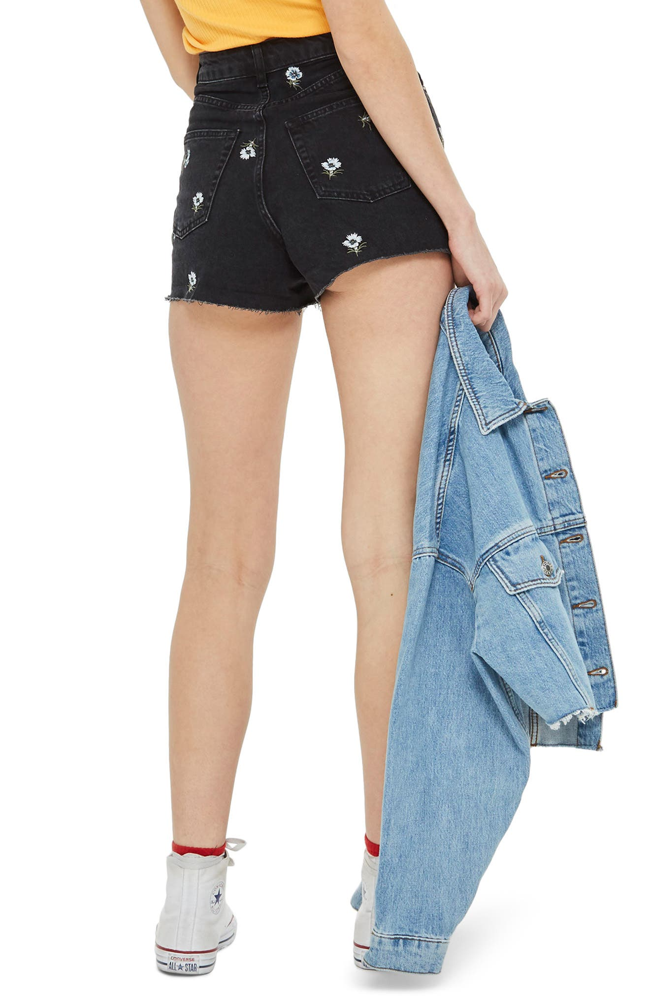 Floral Embroidered Mom Shorts,                             Alternate thumbnail 2, color,                             003