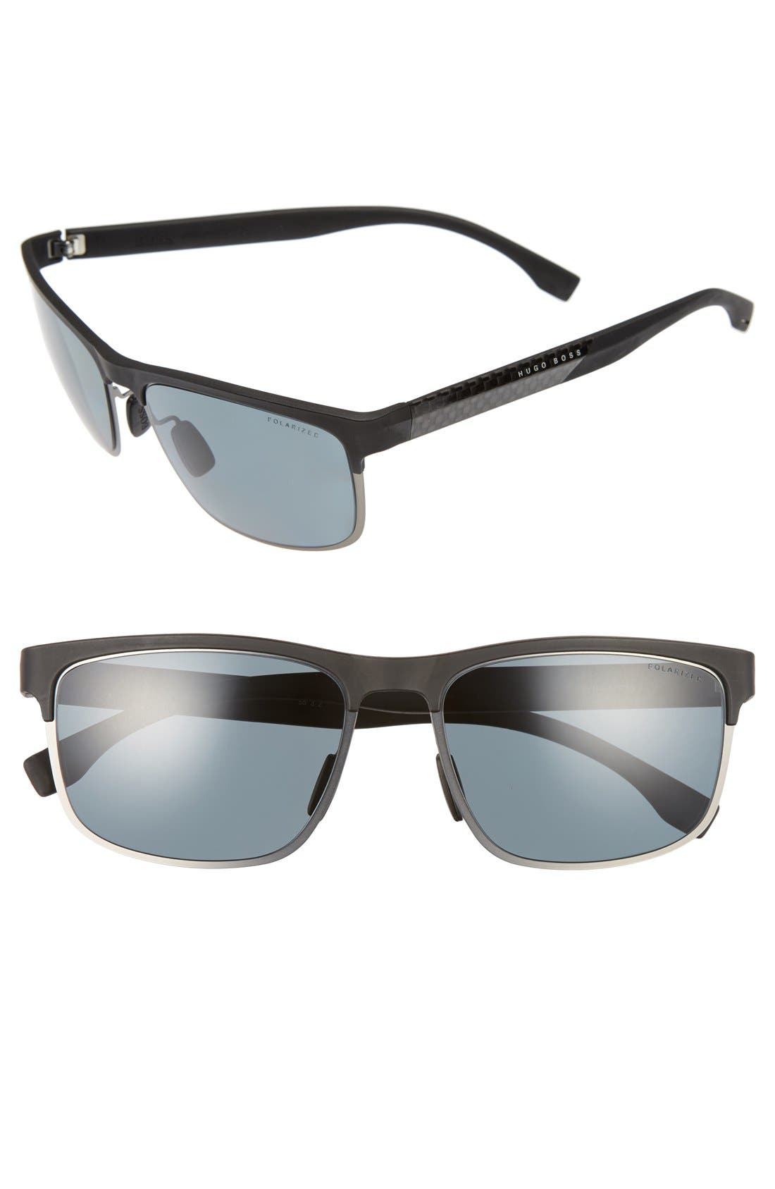 58mm Polarized Sunglasses,                             Alternate thumbnail 3, color,                             001