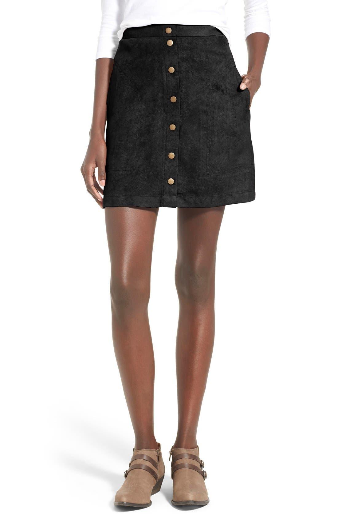 Faux Suede Snap Front A-Line Miniskirt, Main, color, 001