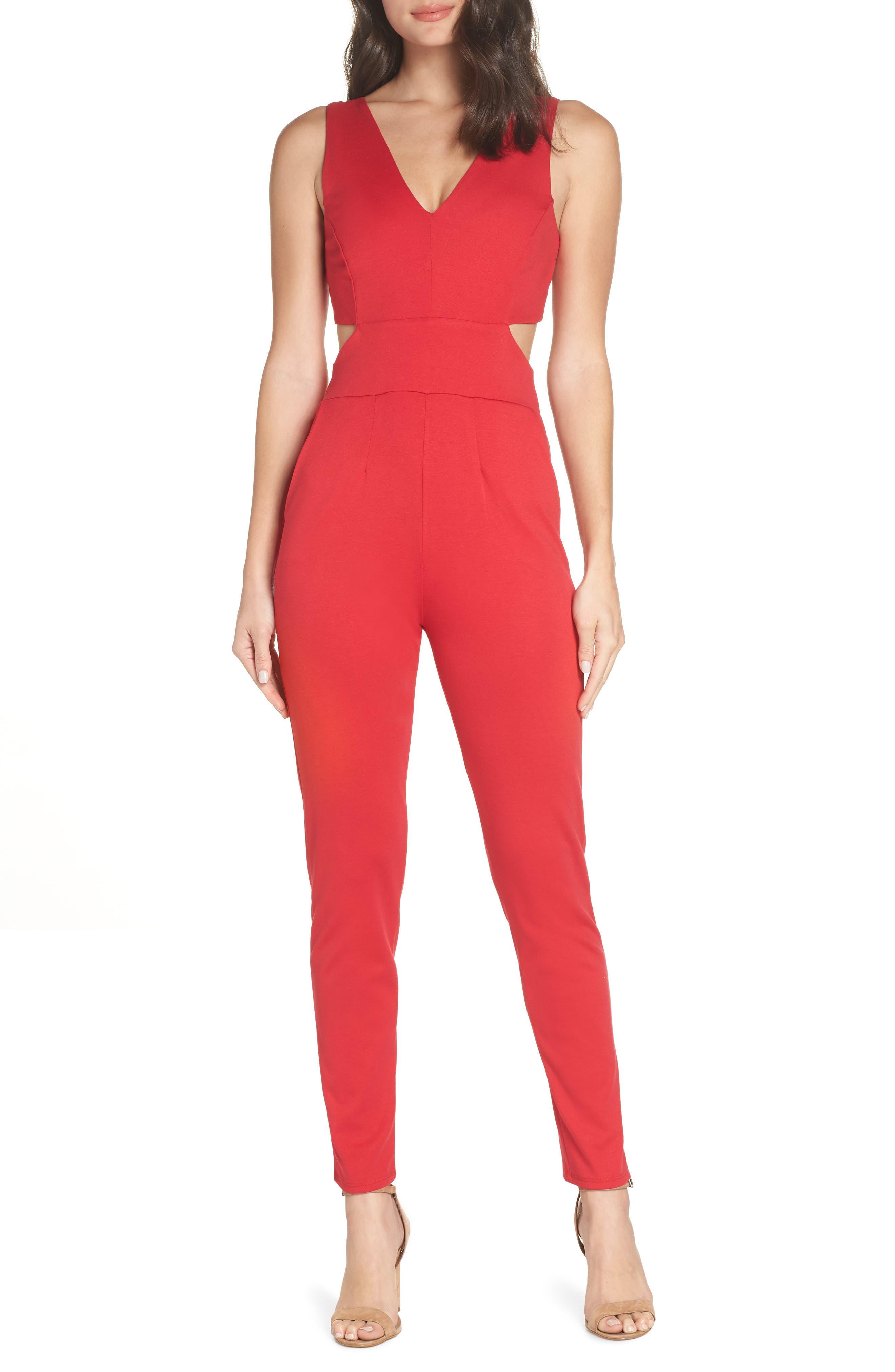 Cutout Jumpsuit,                         Main,                         color, RED