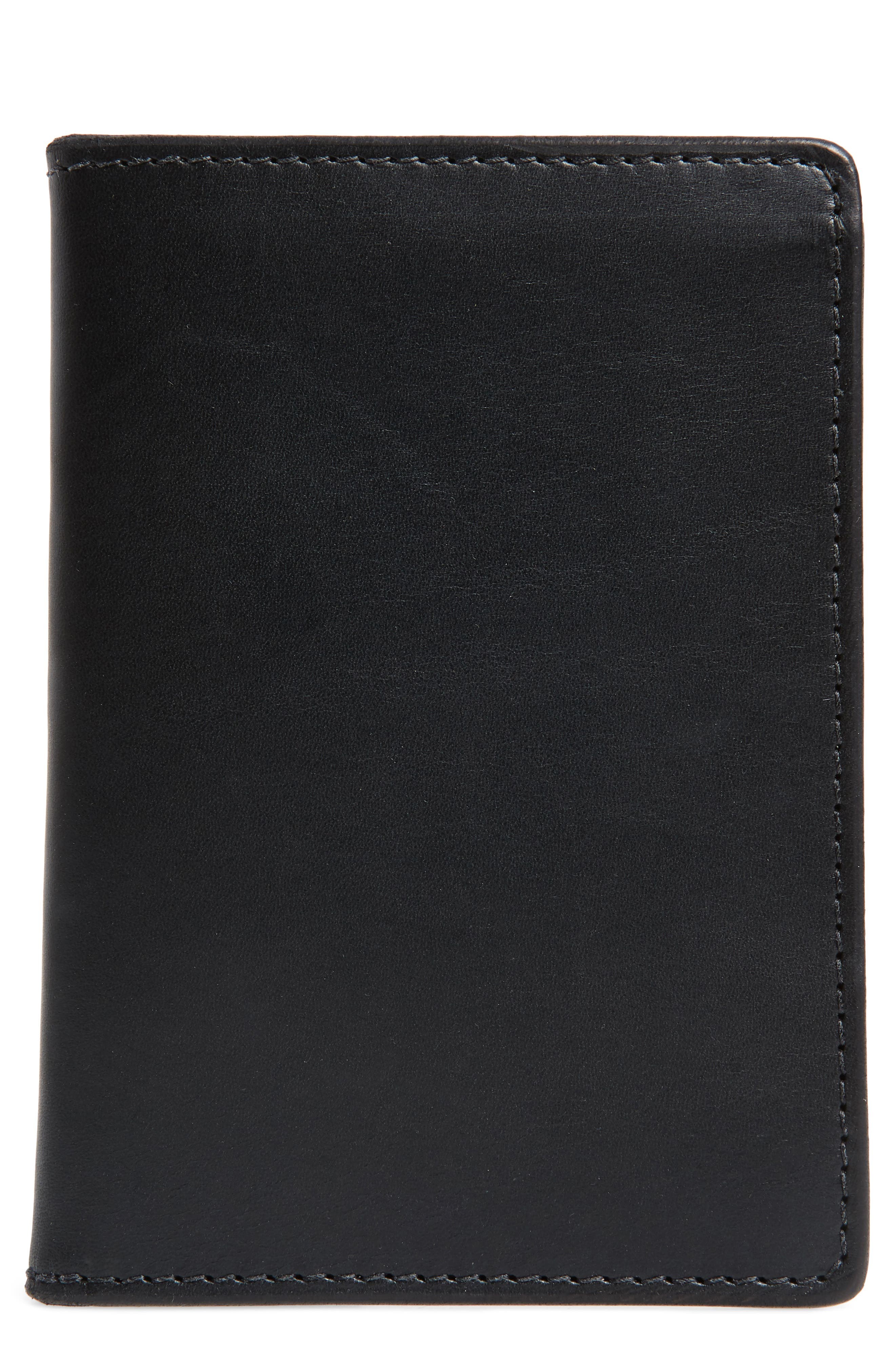 Leather Travel Wallet,                         Main,                         color, BLACK