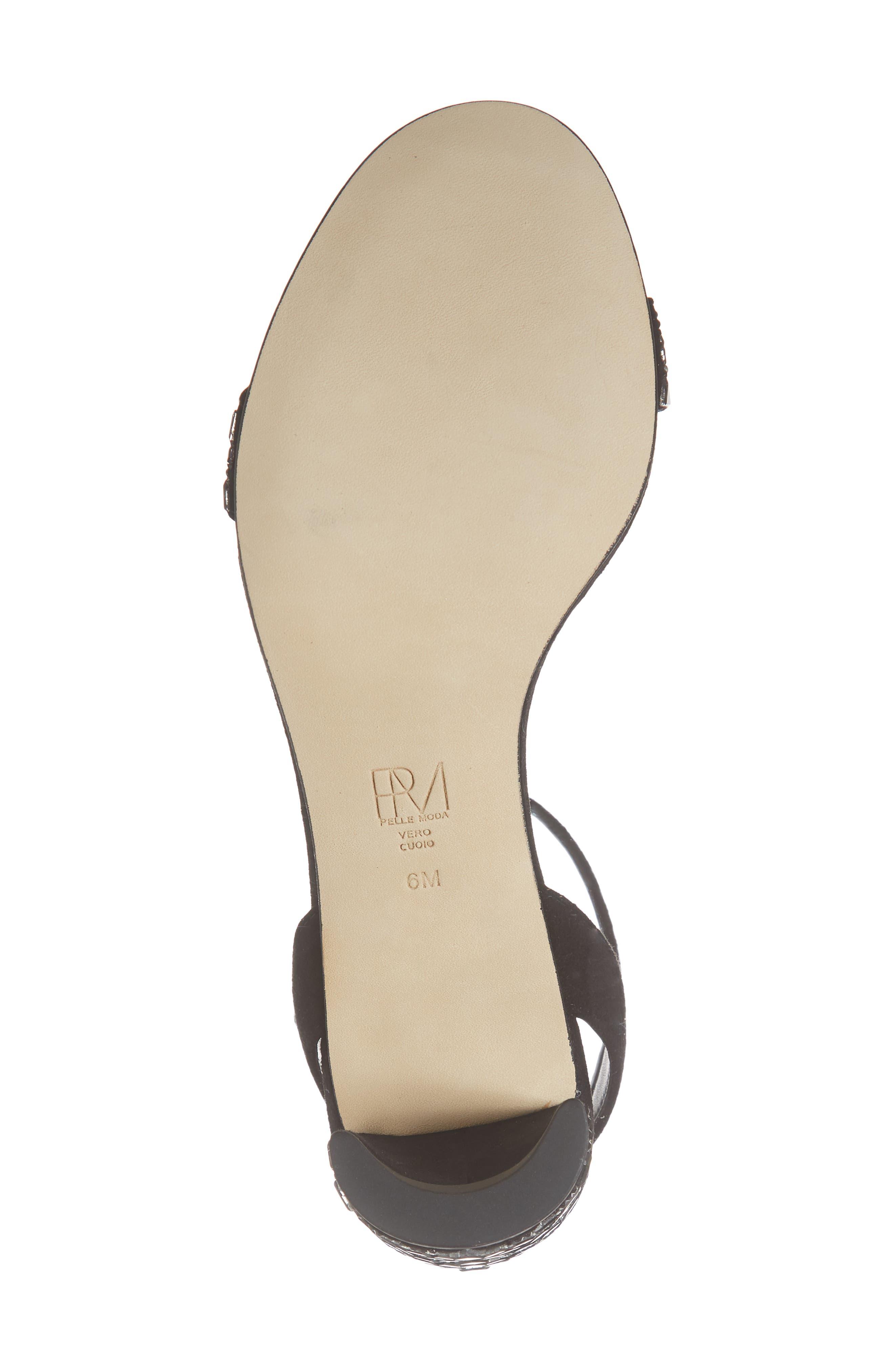Moira Crystal Embellished Sandal,                             Alternate thumbnail 6, color,                             BLACK SUEDE