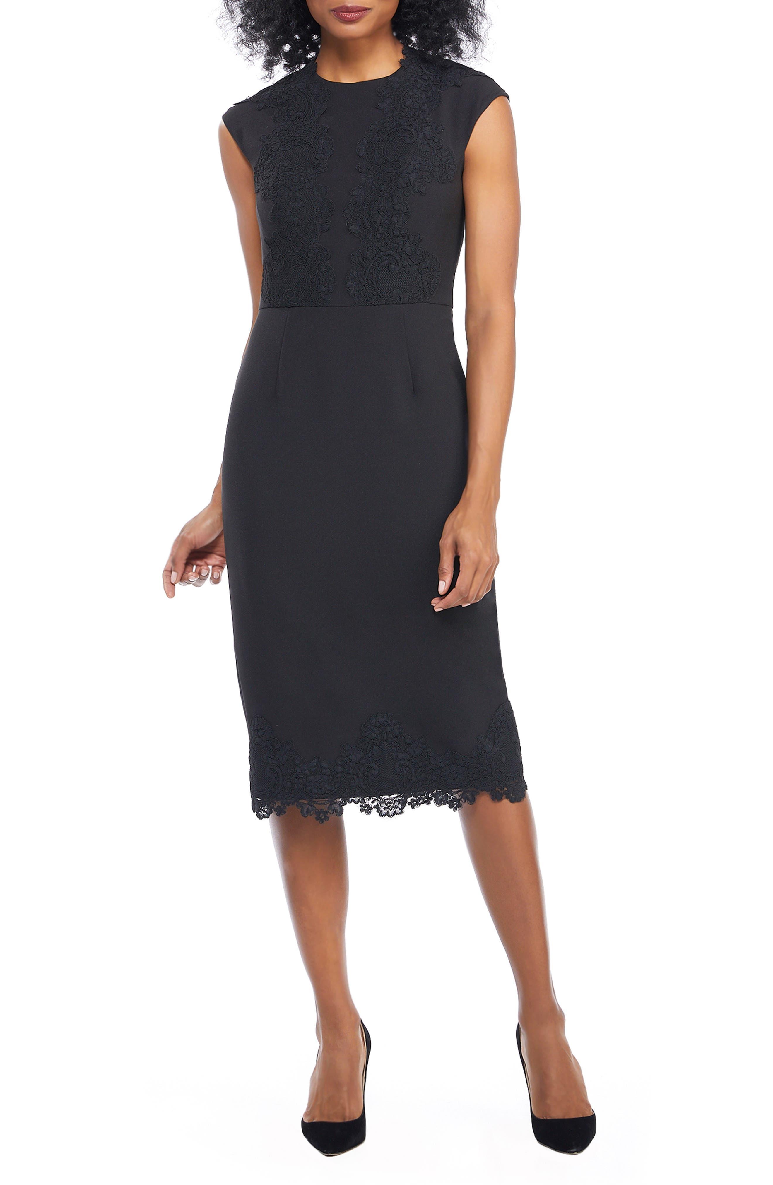 Petite Maggy London Mystic Crepe & Lace Midi Dress, Black