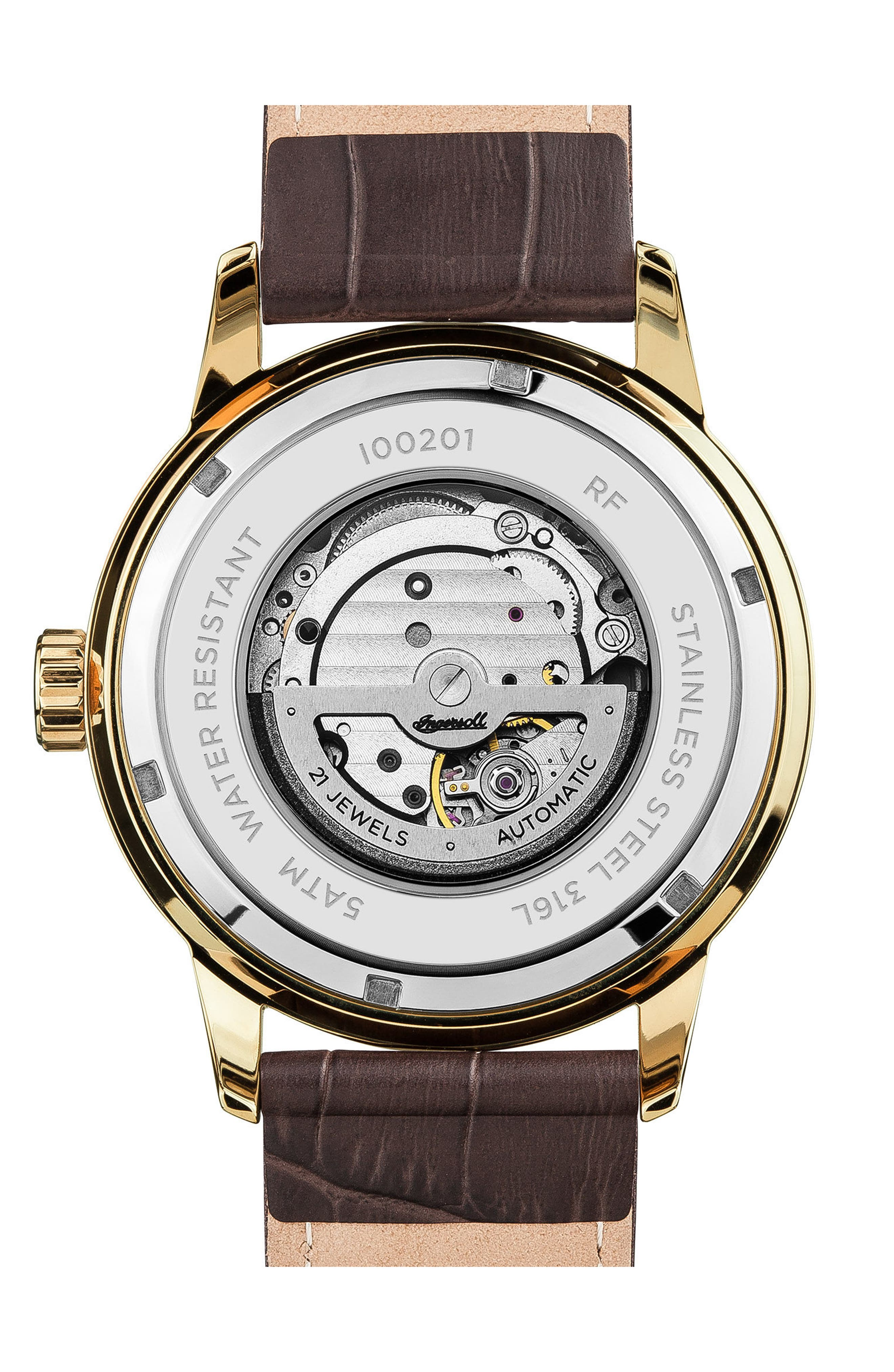 Ingersoll Regent Automatic Leather Strap Watch,                             Alternate thumbnail 2, color,                             BROWN/ GOLD