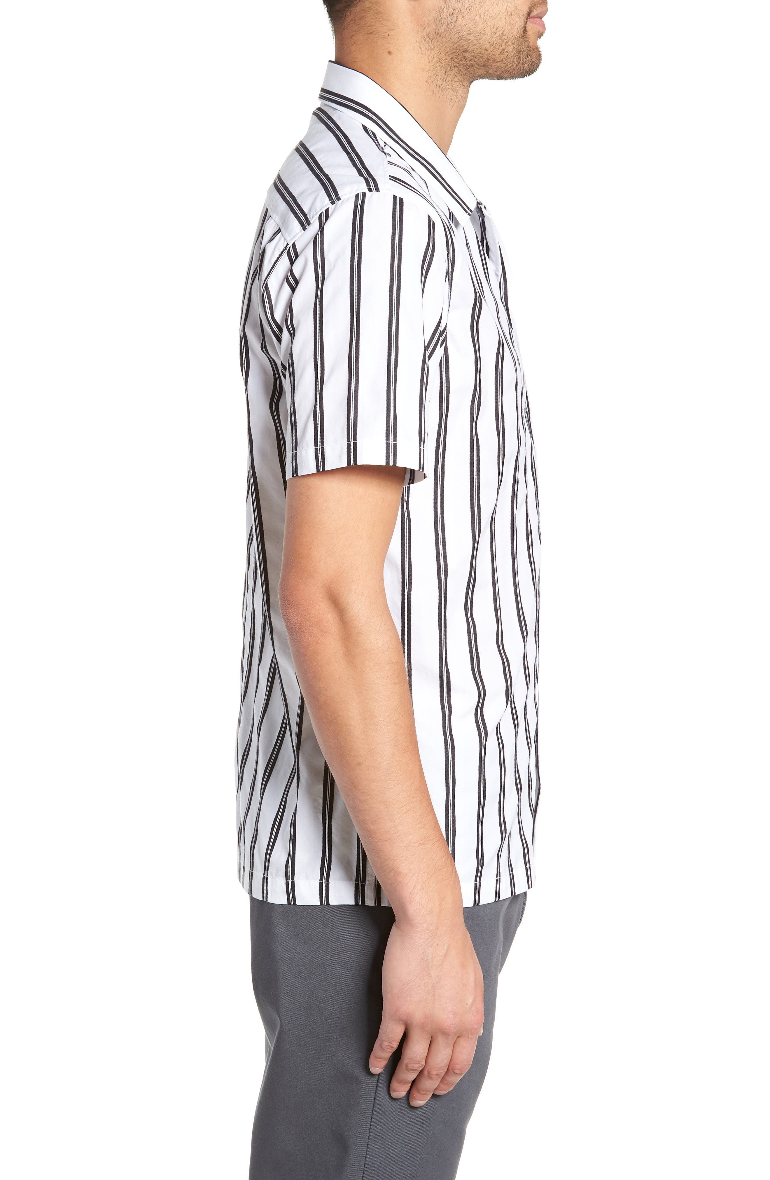 Gable Dobby Stripe Camp Shirt,                             Alternate thumbnail 4, color,                             BLACK STRIPE