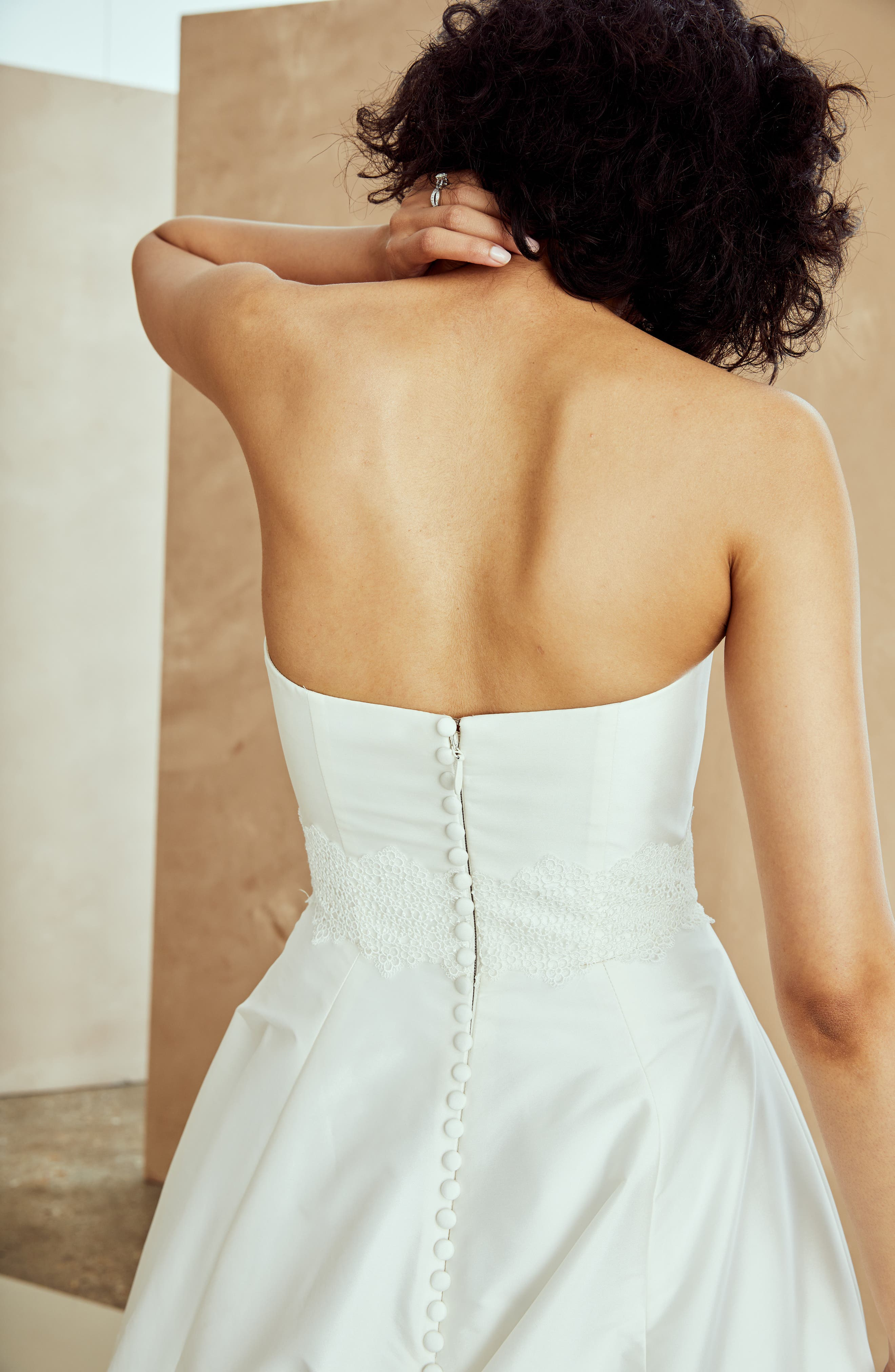 Ana Strapless Ballgown,                             Alternate thumbnail 6, color,                             IVORY