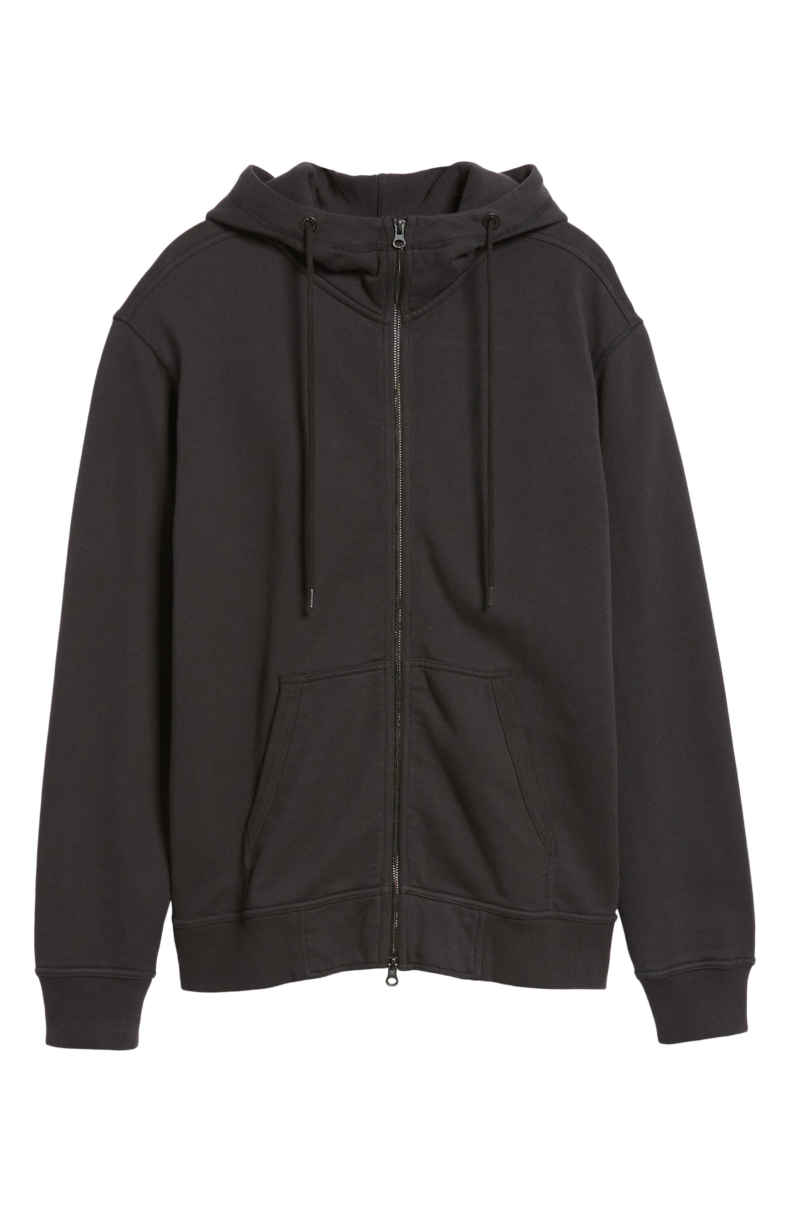 Regular Fit Hooded Zip Sweatshirt,                             Alternate thumbnail 6, color,                             001