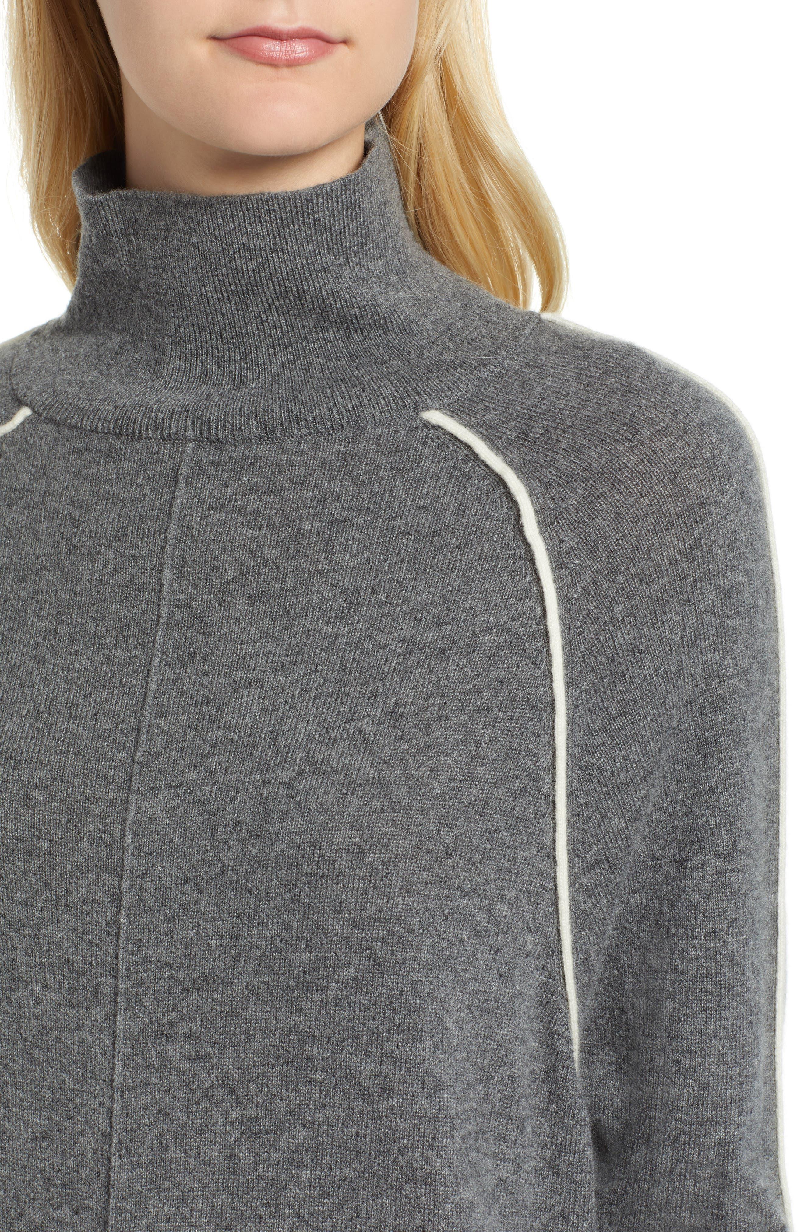 Raglan Sleeve Cashmere Turtleneck,                             Alternate thumbnail 4, color,                             061