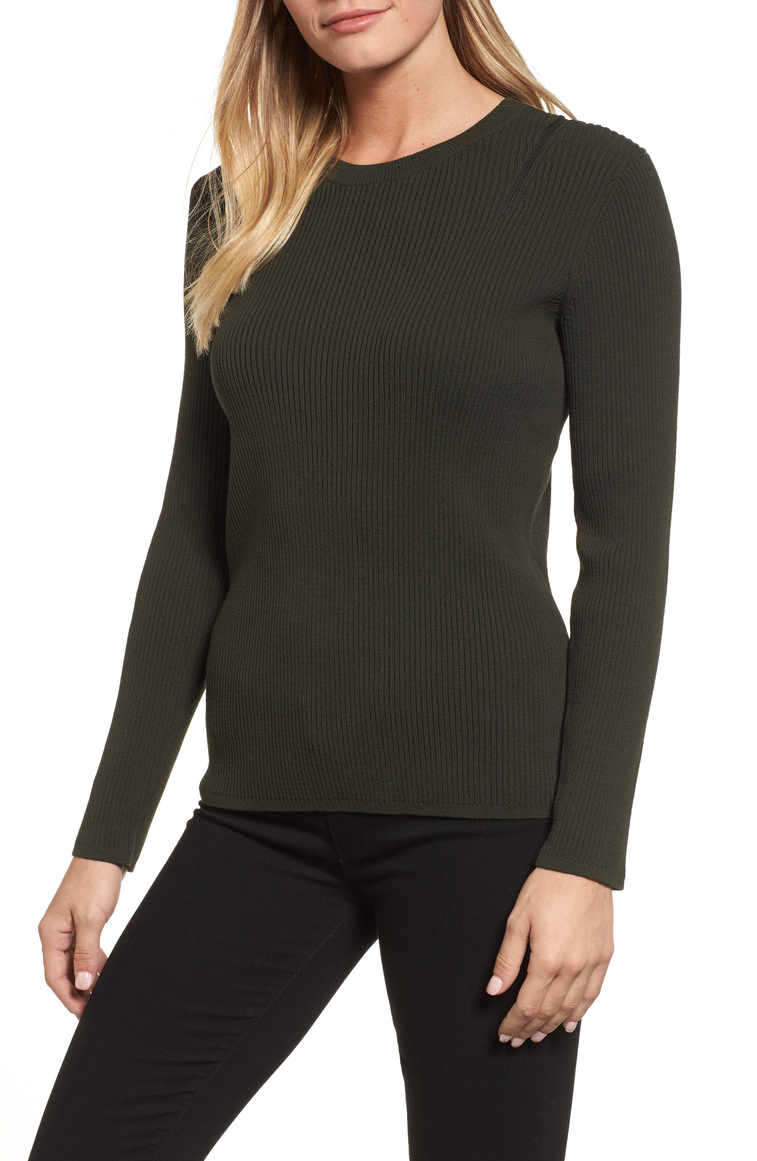 Zip Shoulder Ribbed Sweater,                             Main thumbnail 2, color,
