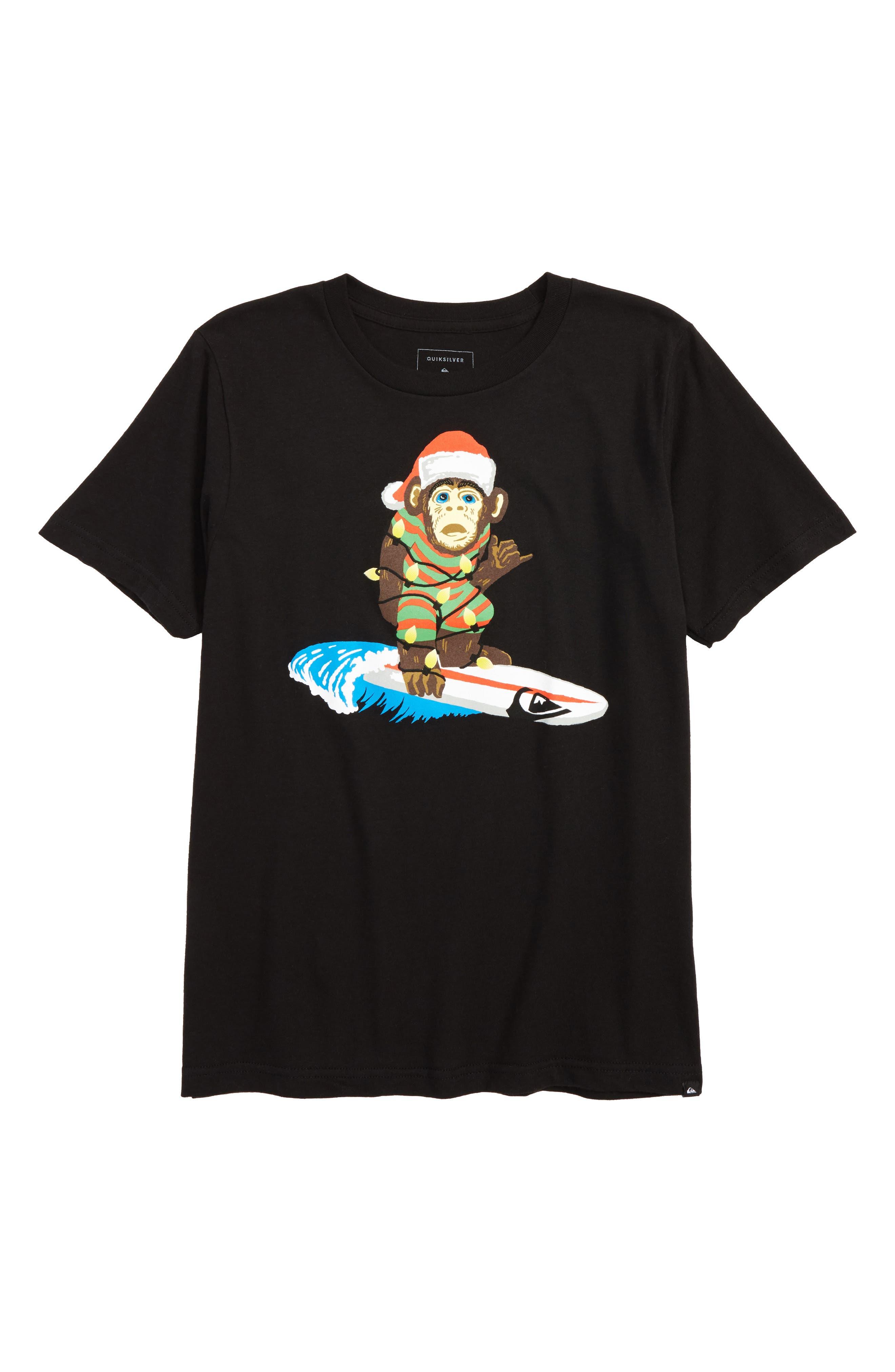 Santa Surf Monkey T-Shirt,                             Main thumbnail 1, color,                             002