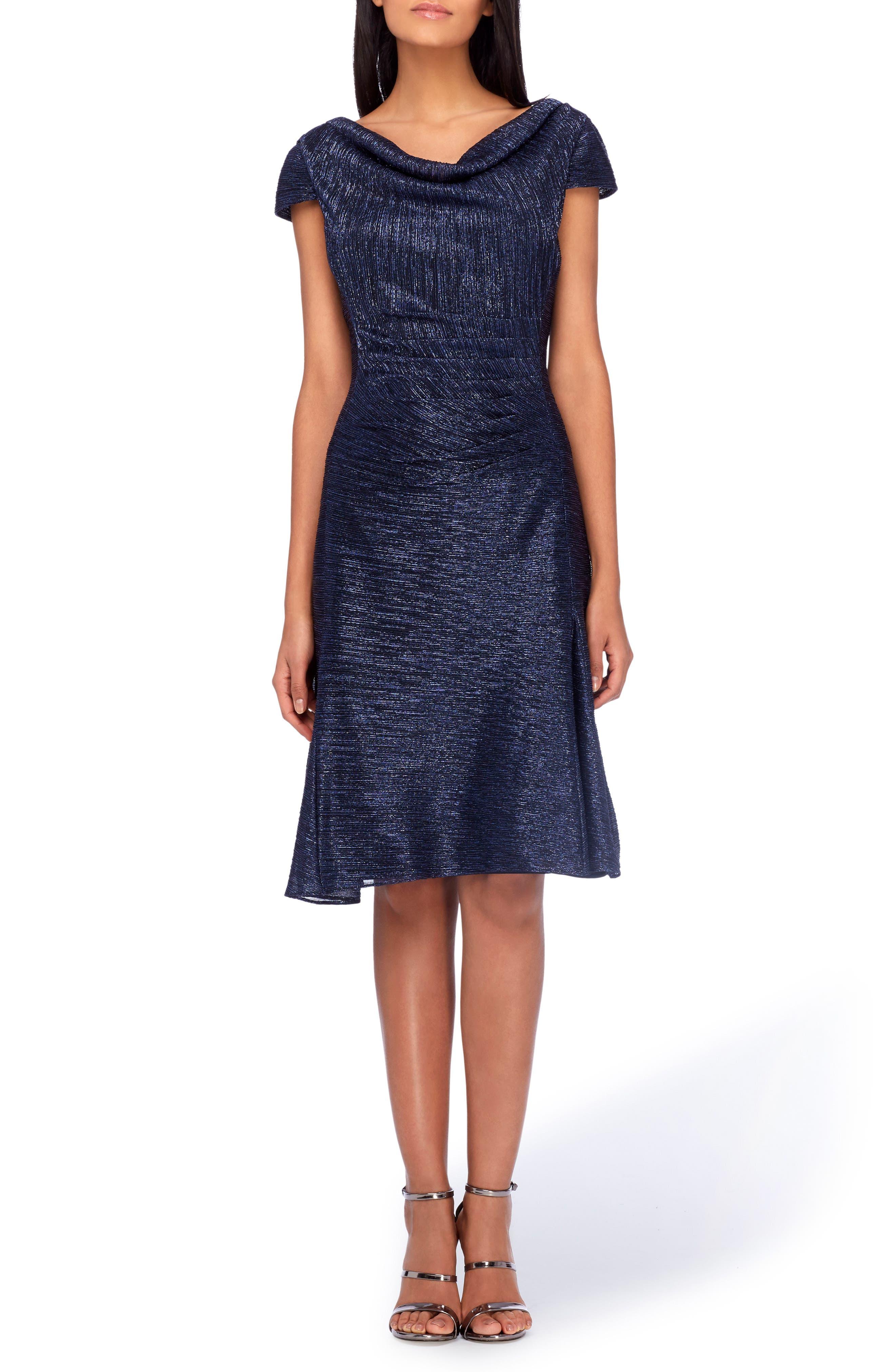 TAHARI Cowl Neck Fit & Flare Dress, Main, color, 412