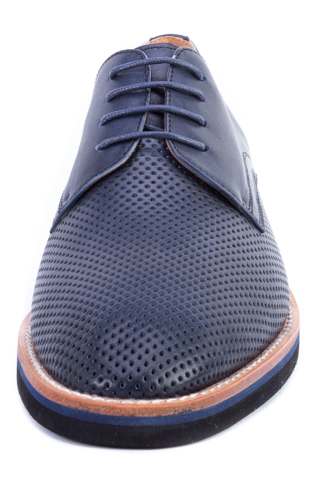 Hartung Perforated Plain Toe Derby,                             Alternate thumbnail 3, color,                             NAVY LEATHER
