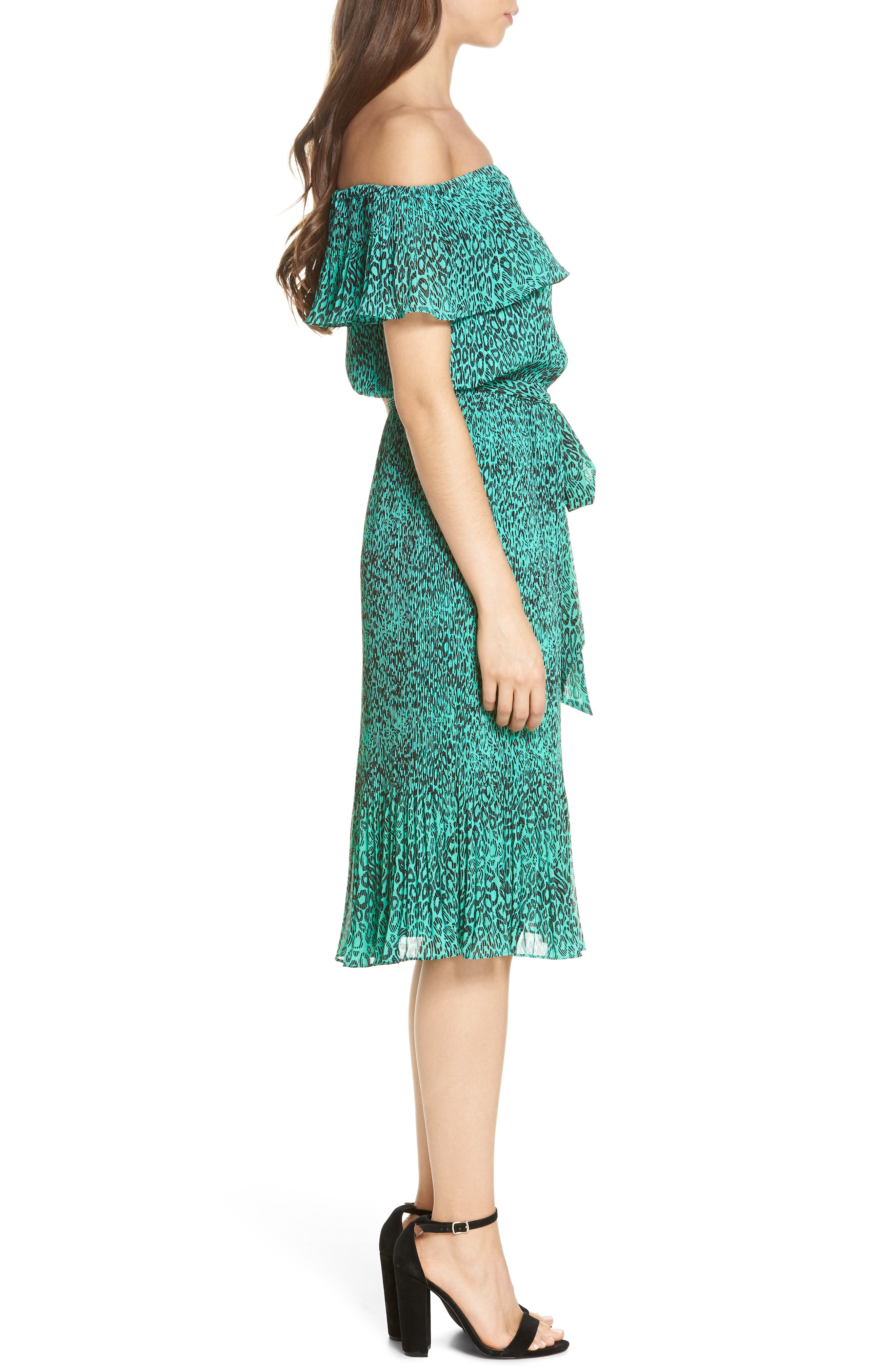 Off the Shoulder Chiffon Midi Dress,                             Alternate thumbnail 3, color,                             300