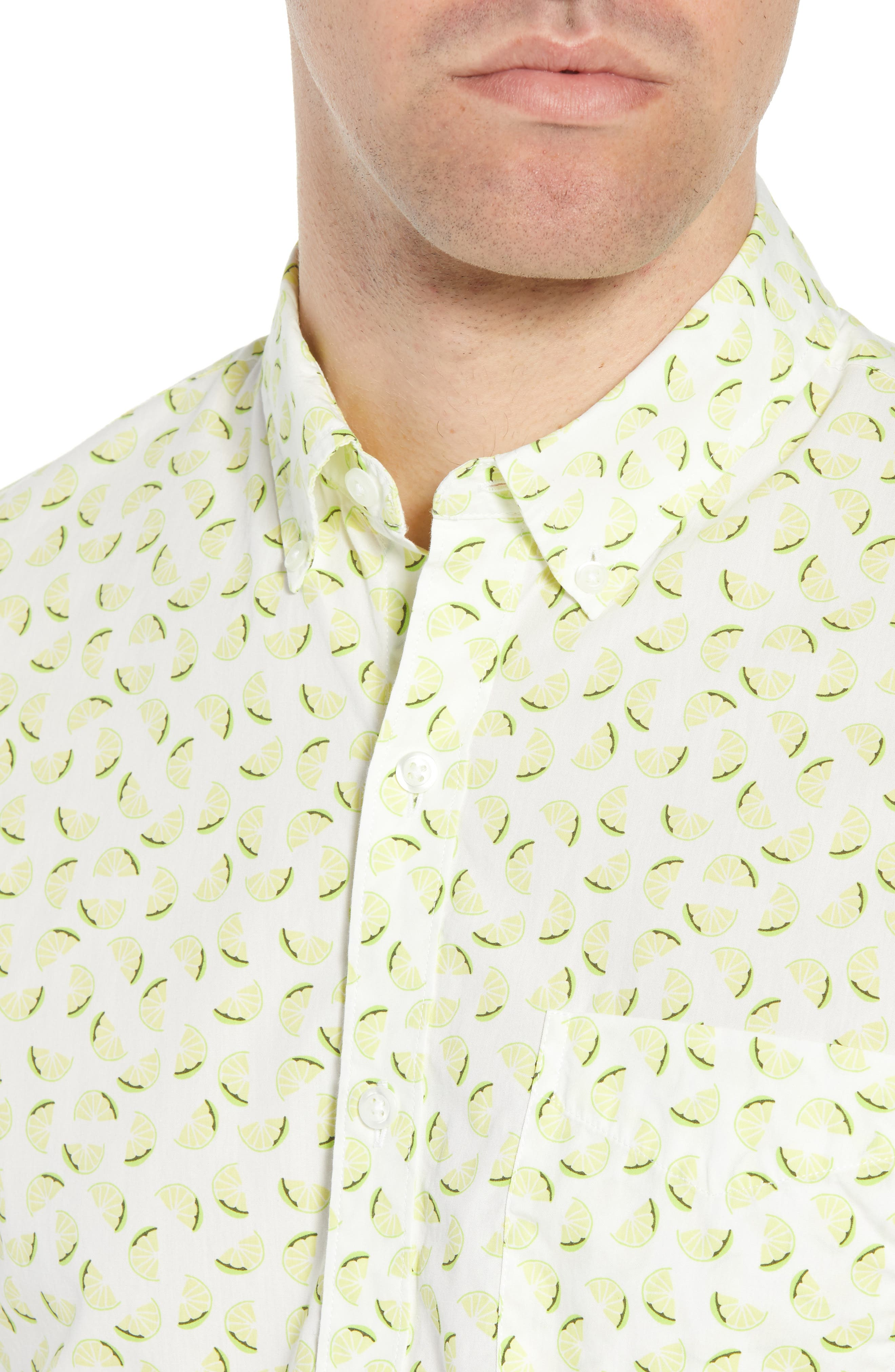 Slim Fit Citrus Print Sport Shirt,                             Alternate thumbnail 4, color,