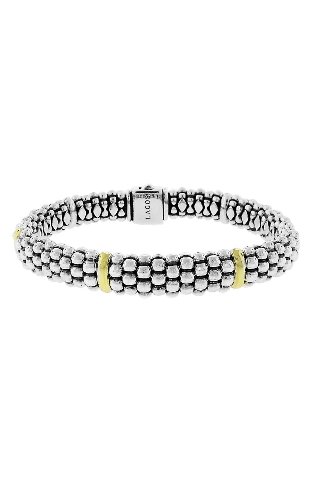 Caviar Rope Bracelet,                             Main thumbnail 1, color,                             SILVER/ GOLD