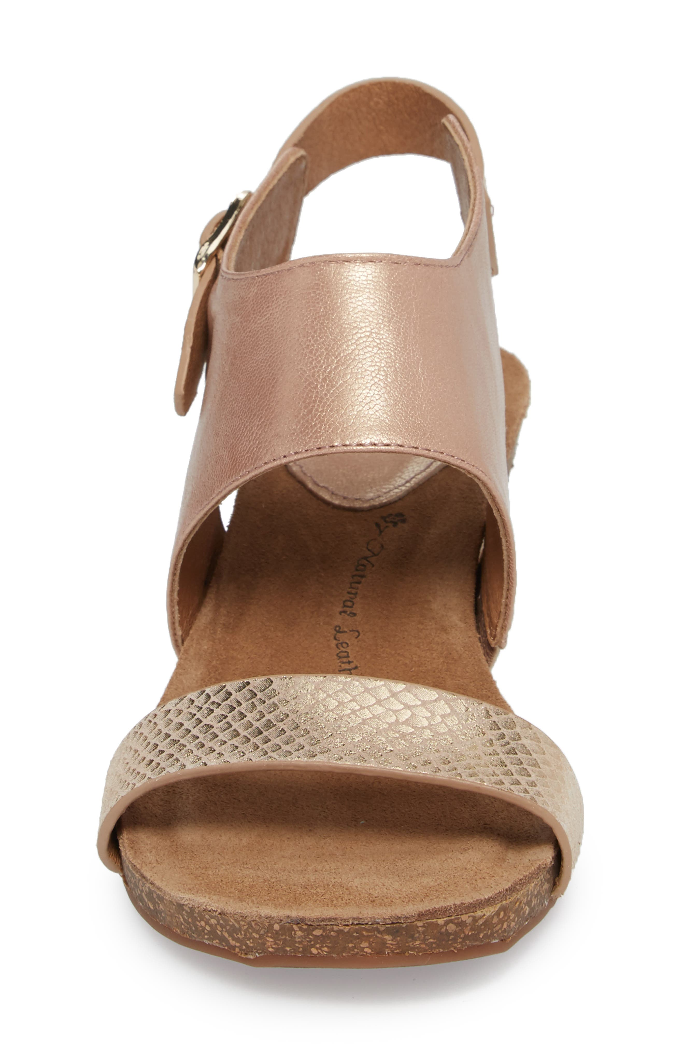 'Vanita' Leather Sandal,                             Alternate thumbnail 4, color,                             CHAMPAGNE/ GOLD LEATHER