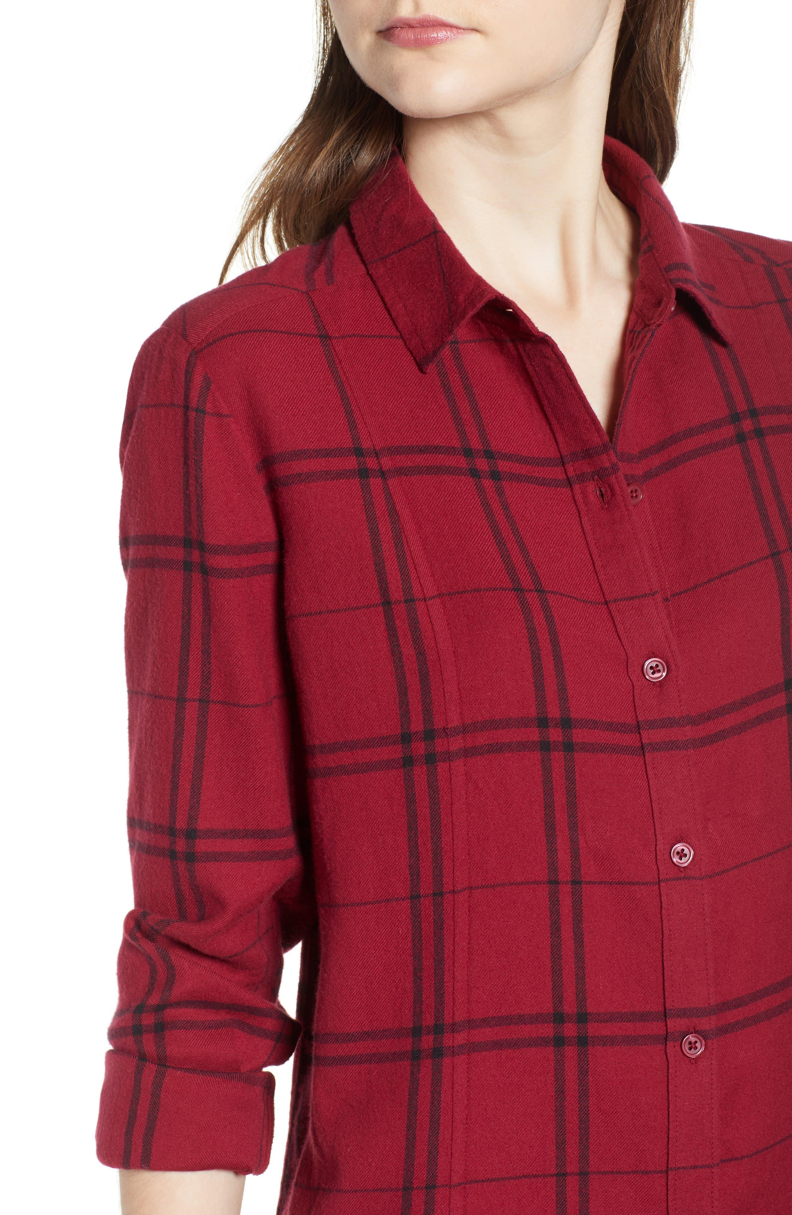 Plaid Shirt Dress,                             Alternate thumbnail 4, color,                             RED RUMBA SUNNY PLAID