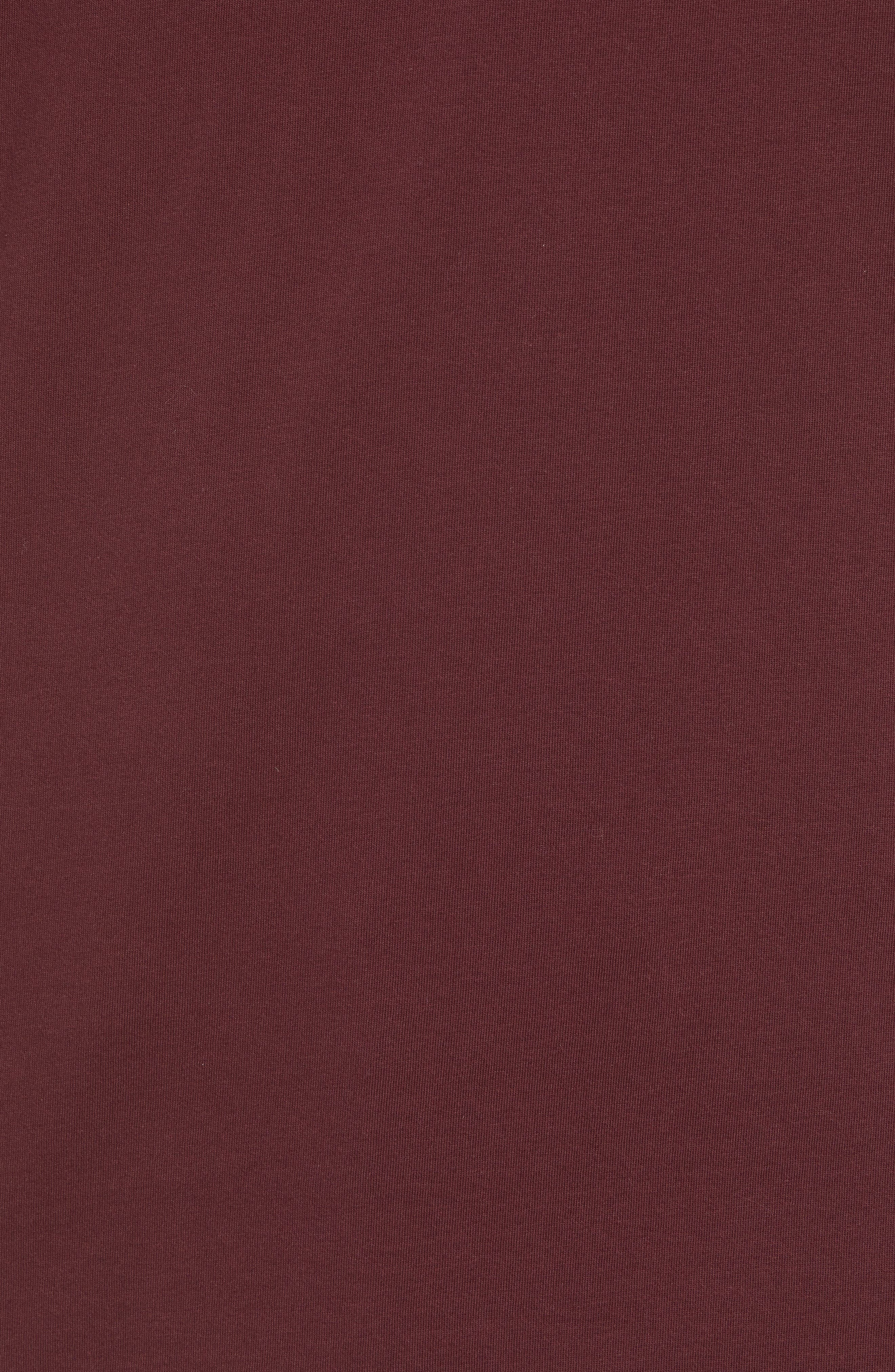 Crewneck T-Shirt,                             Alternate thumbnail 5, color,                             BURGUNDY CRUSH/ HABANERO RED