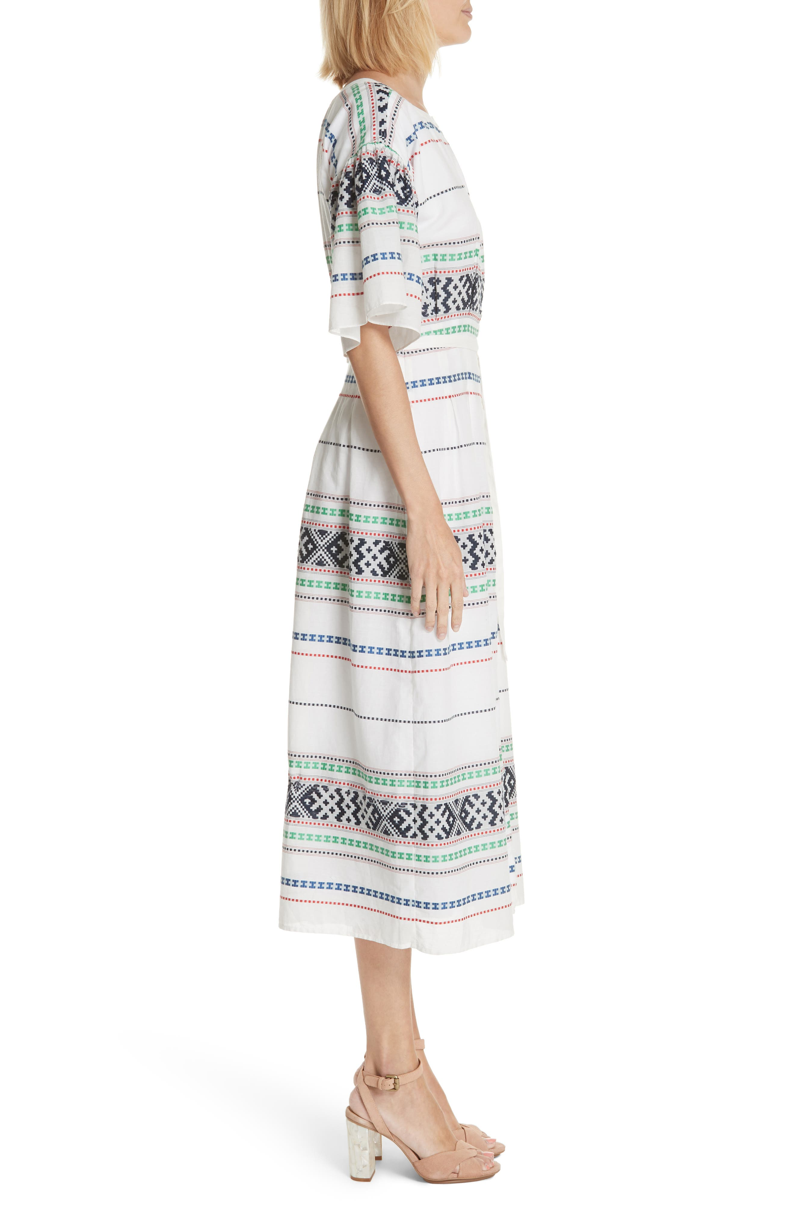 Lilianaly Embroidered Midi Dress,                             Alternate thumbnail 3, color,                             PORCELAIN