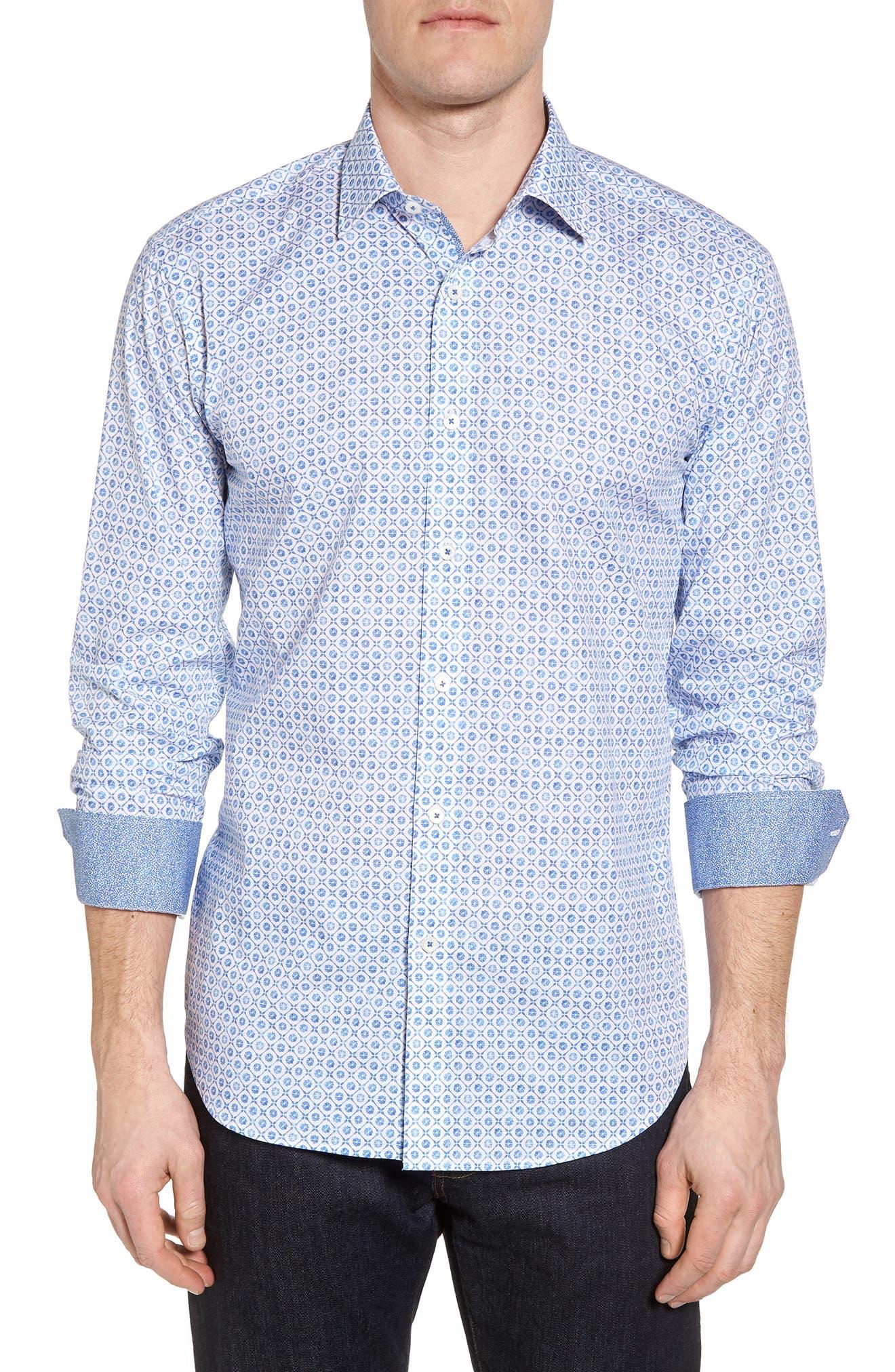 Shaped Fit Floral Medallion Print Sport Shirt,                             Main thumbnail 1, color,                             CLASSIC BLUE
