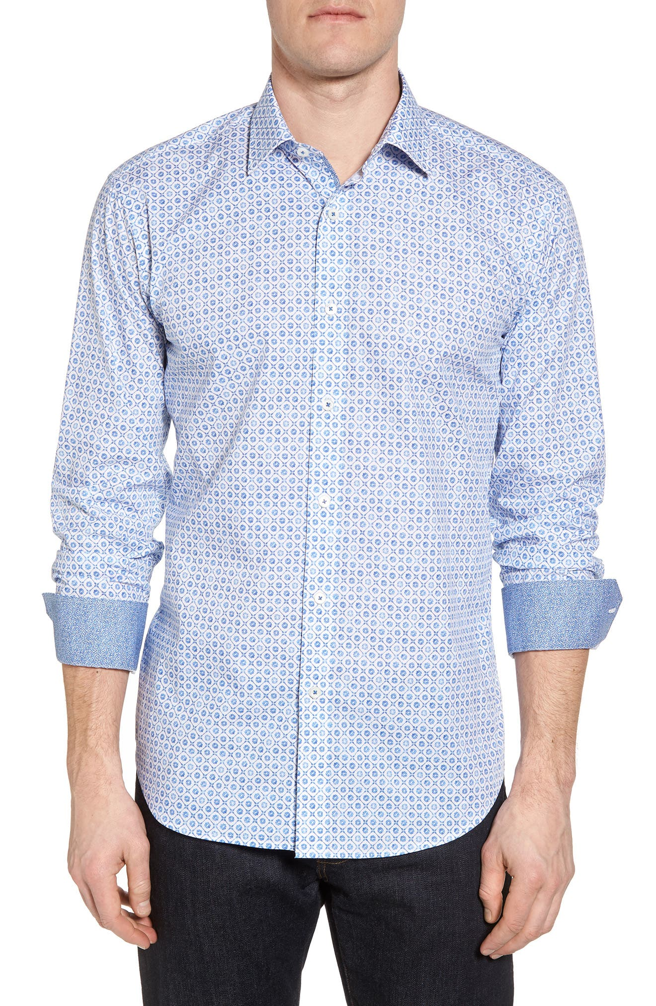 Shaped Fit Floral Medallion Print Sport Shirt,                         Main,                         color, CLASSIC BLUE