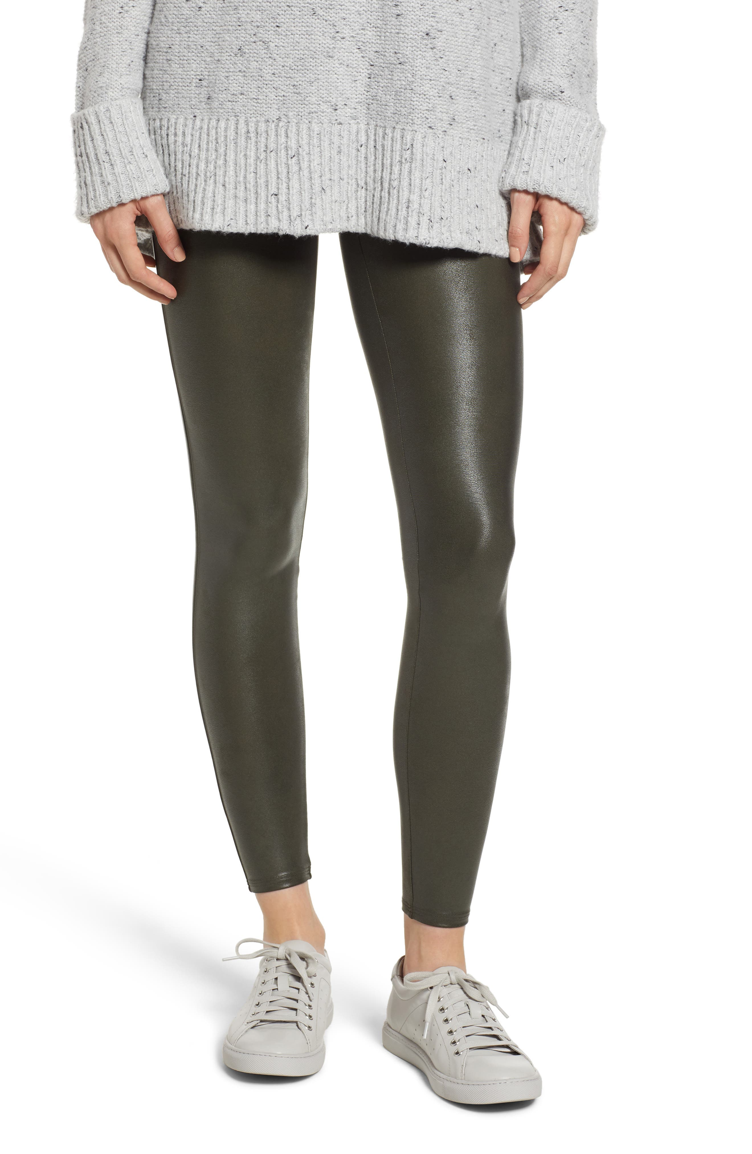 Faux Leather Leggings,                         Main,                         color, DEEP OLIVE