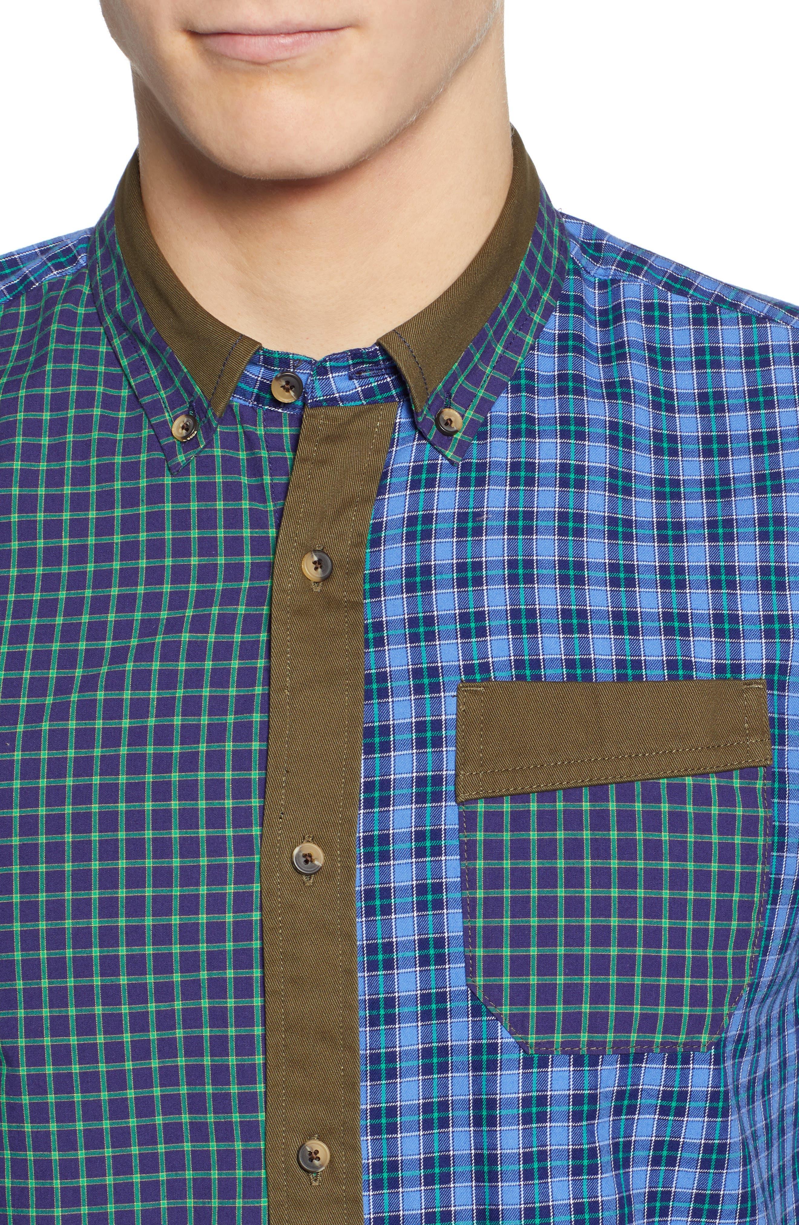 Regular Fit Pattern Blocked Sport Shirt,                             Alternate thumbnail 2, color,                             410
