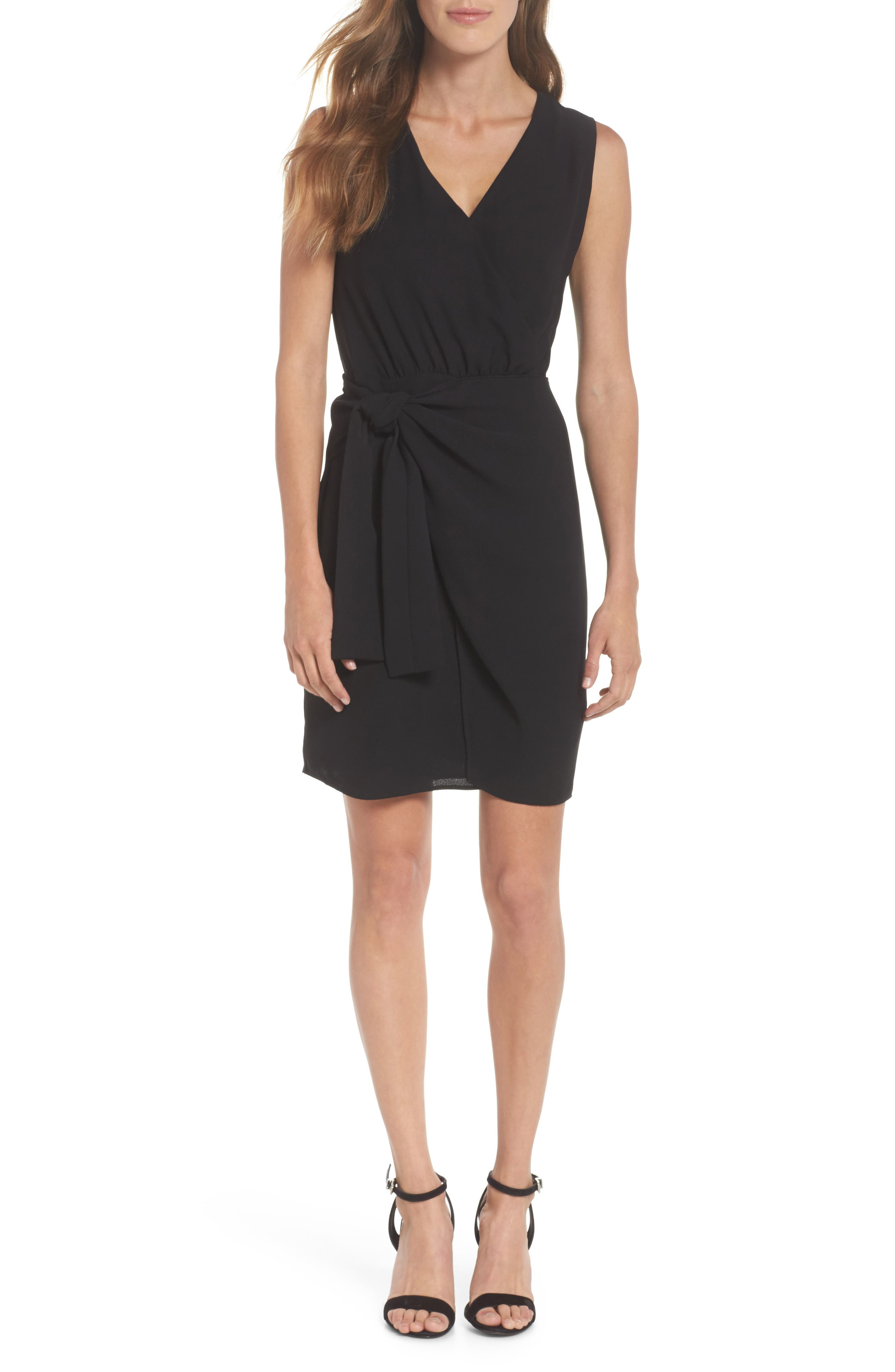 Faux Wrap Tie Dress,                             Main thumbnail 1, color,                             001