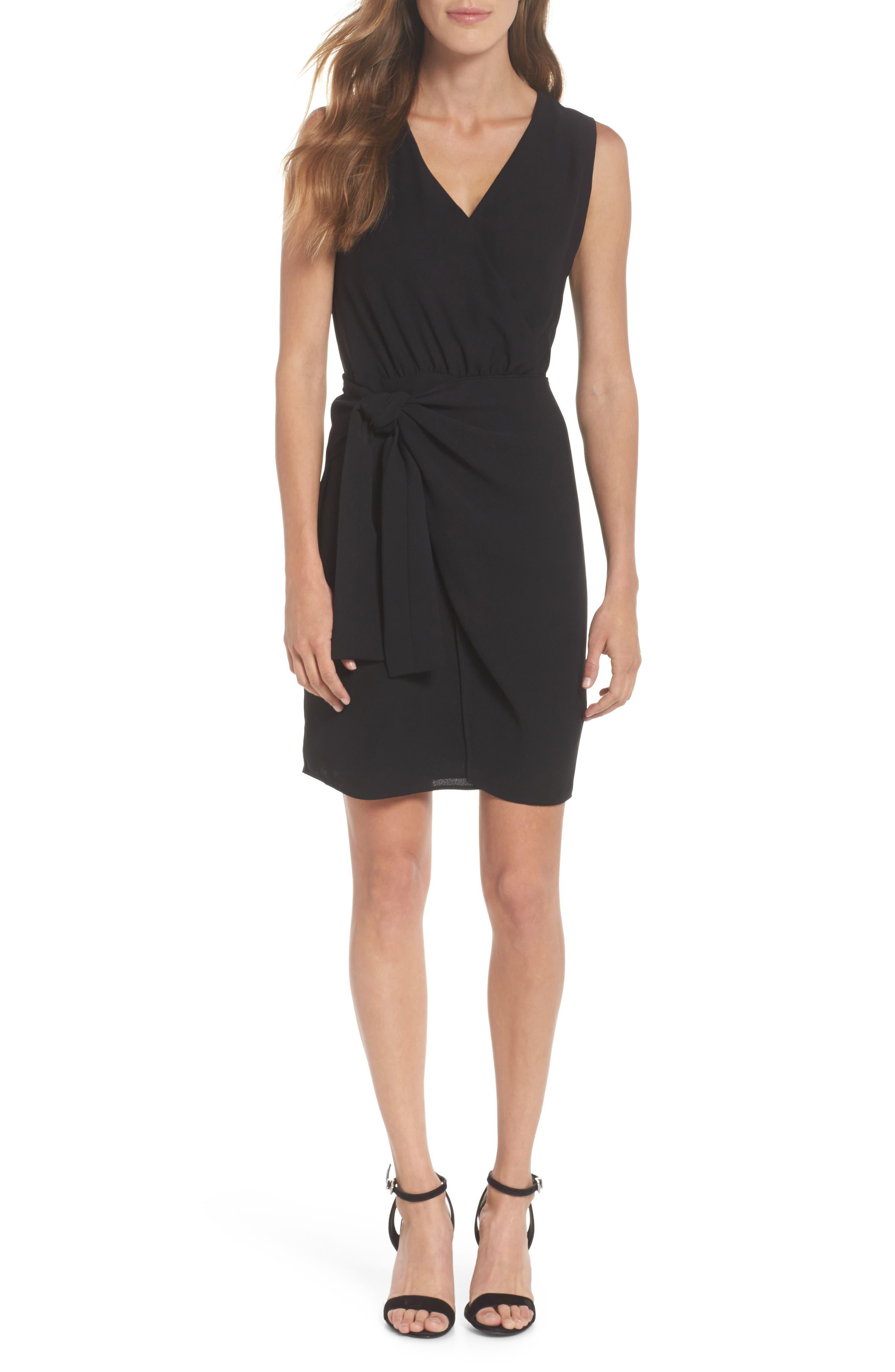 Faux Wrap Tie Dress,                         Main,                         color, 001