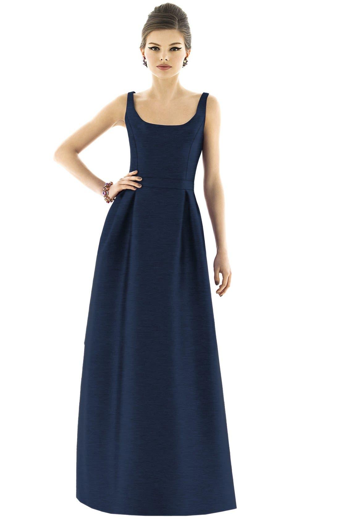 Scoop Neck Dupioni Full Length Dress,                             Main thumbnail 4, color,