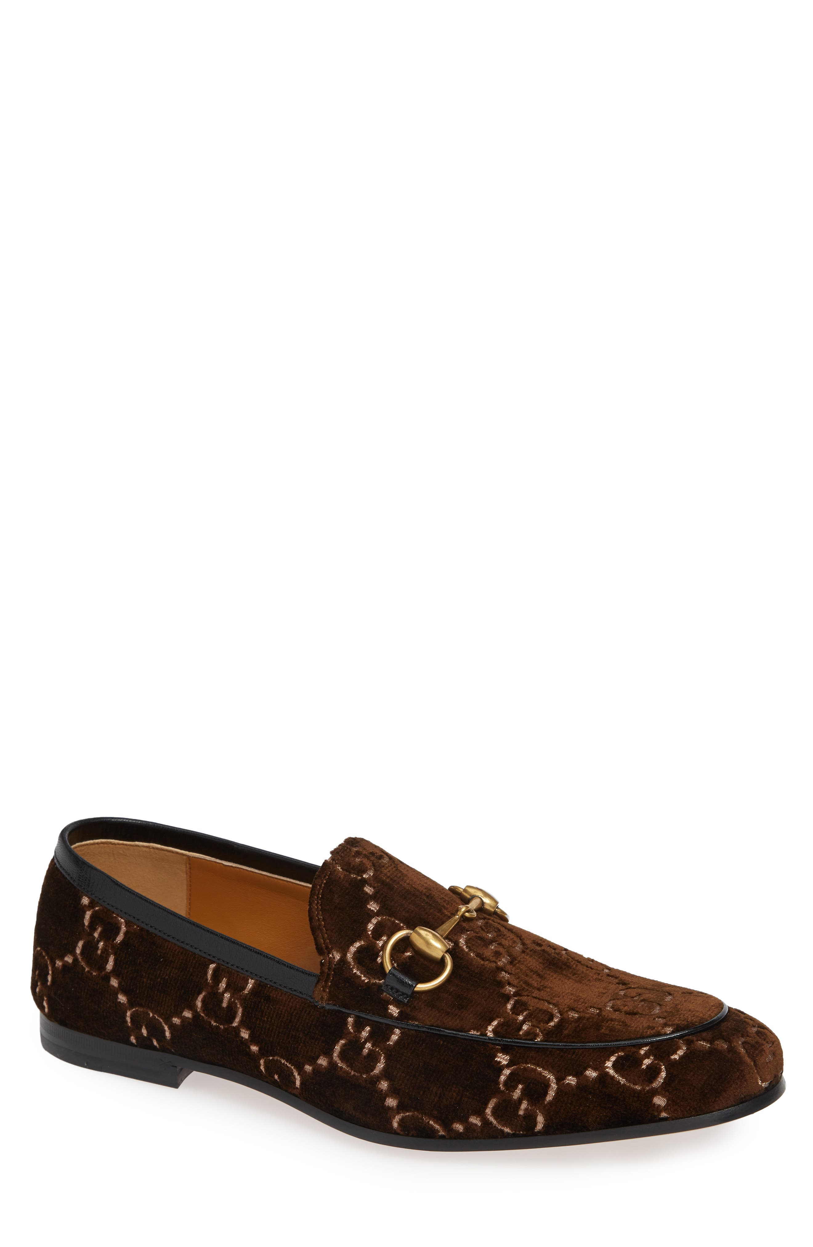 Jordaan GG Velvet Loafer,                         Main,                         color, BROWN/ NERO