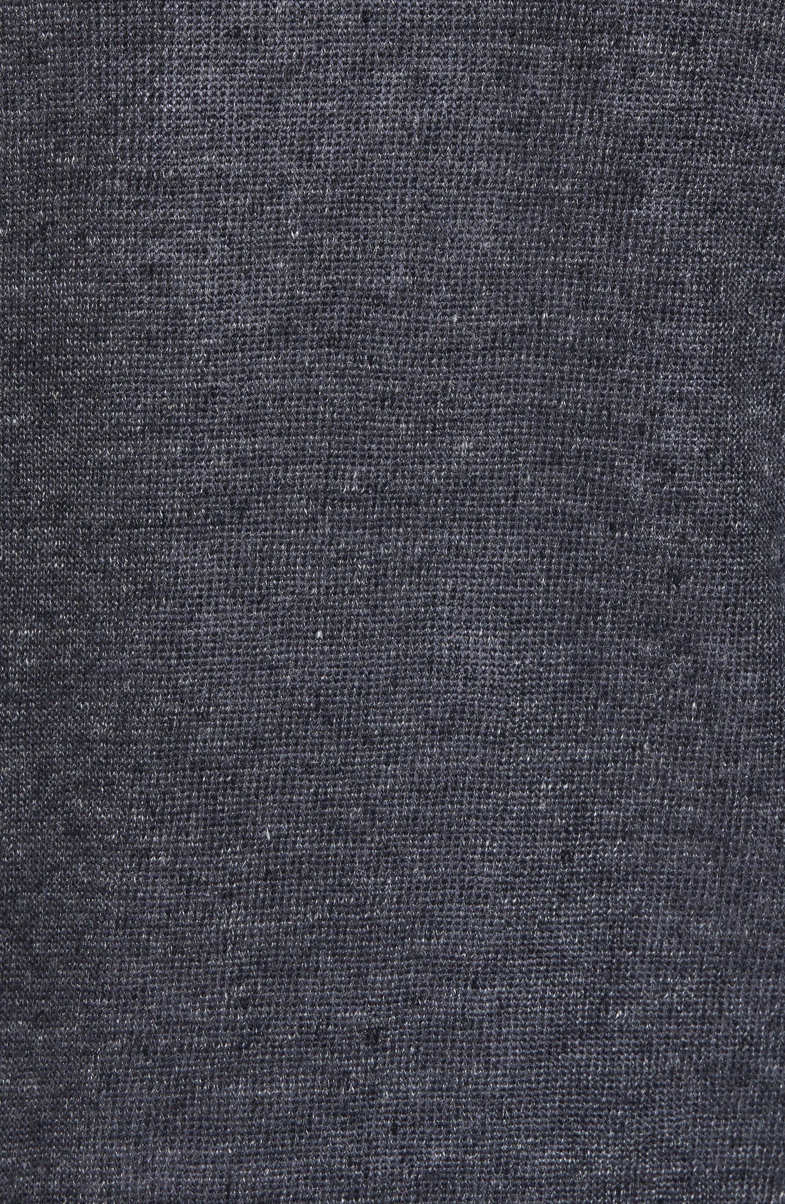 Slim Fit Linen Pullover Hoodie,                             Alternate thumbnail 5, color,                             001