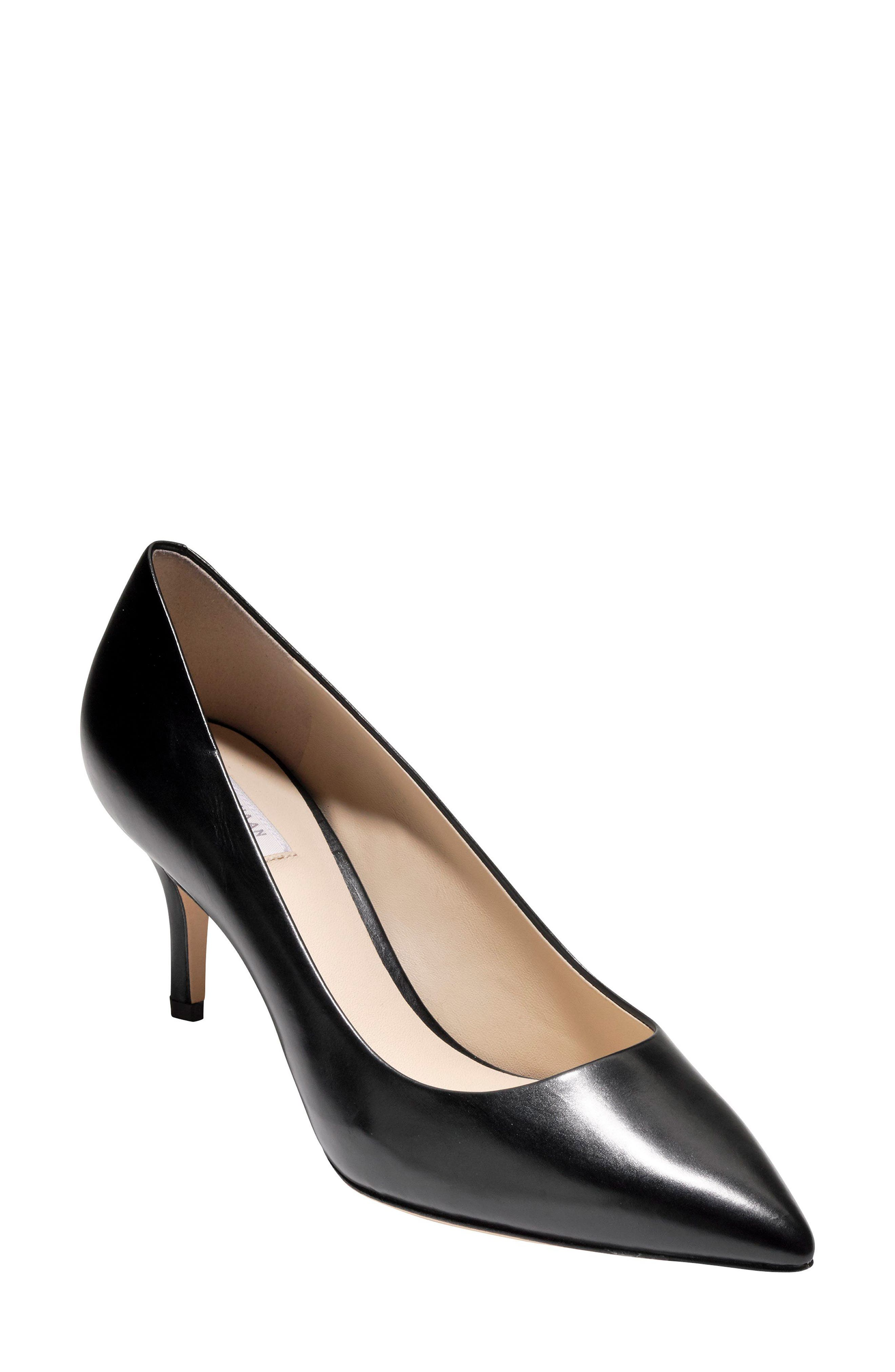 COLE HAAN Women'S Vesta Leather Pointed Toe Mid-Heel Pumps in Black Leather
