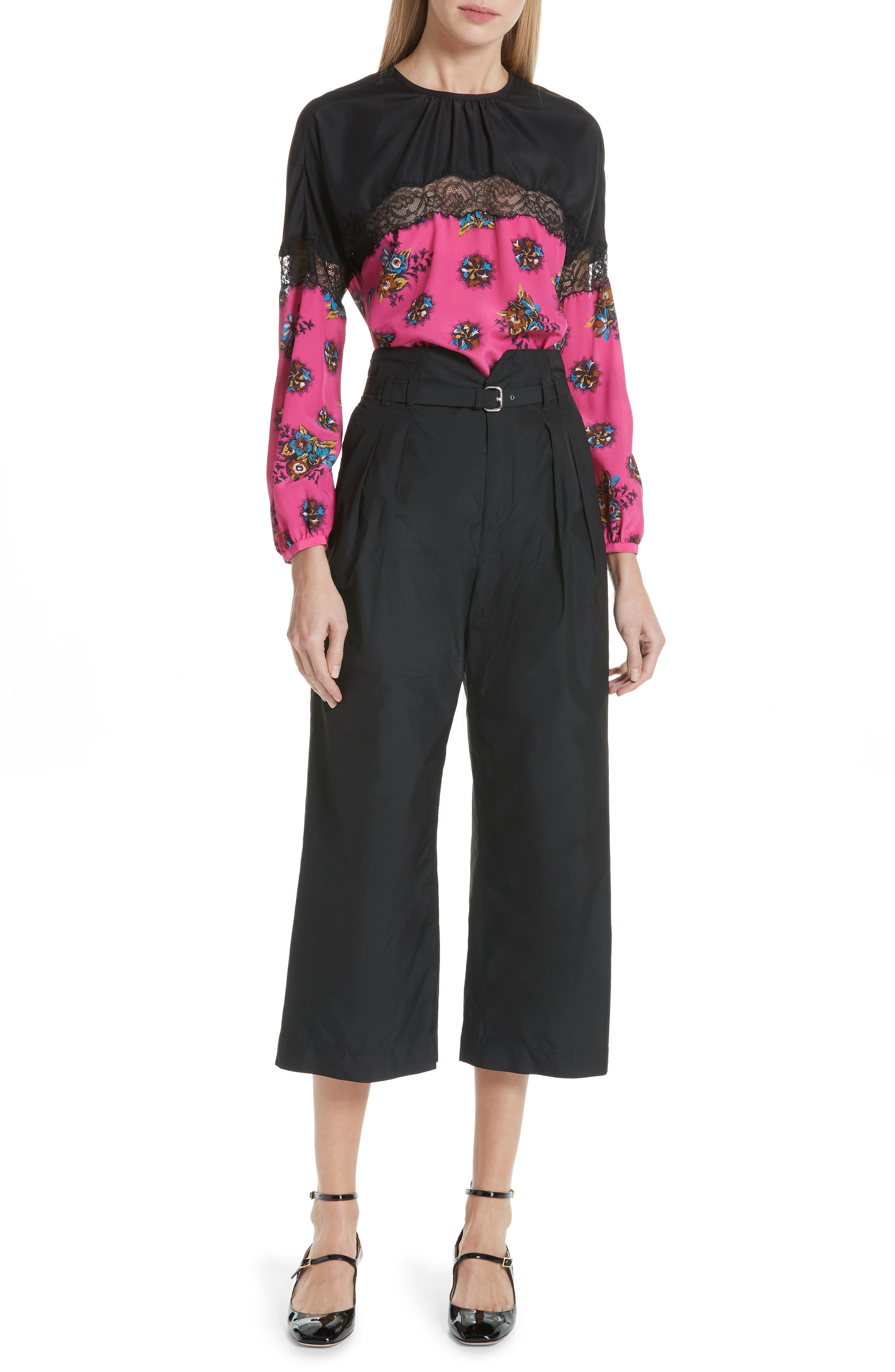Belted Pleat Front Pants,                             Alternate thumbnail 7, color,                             BLACK