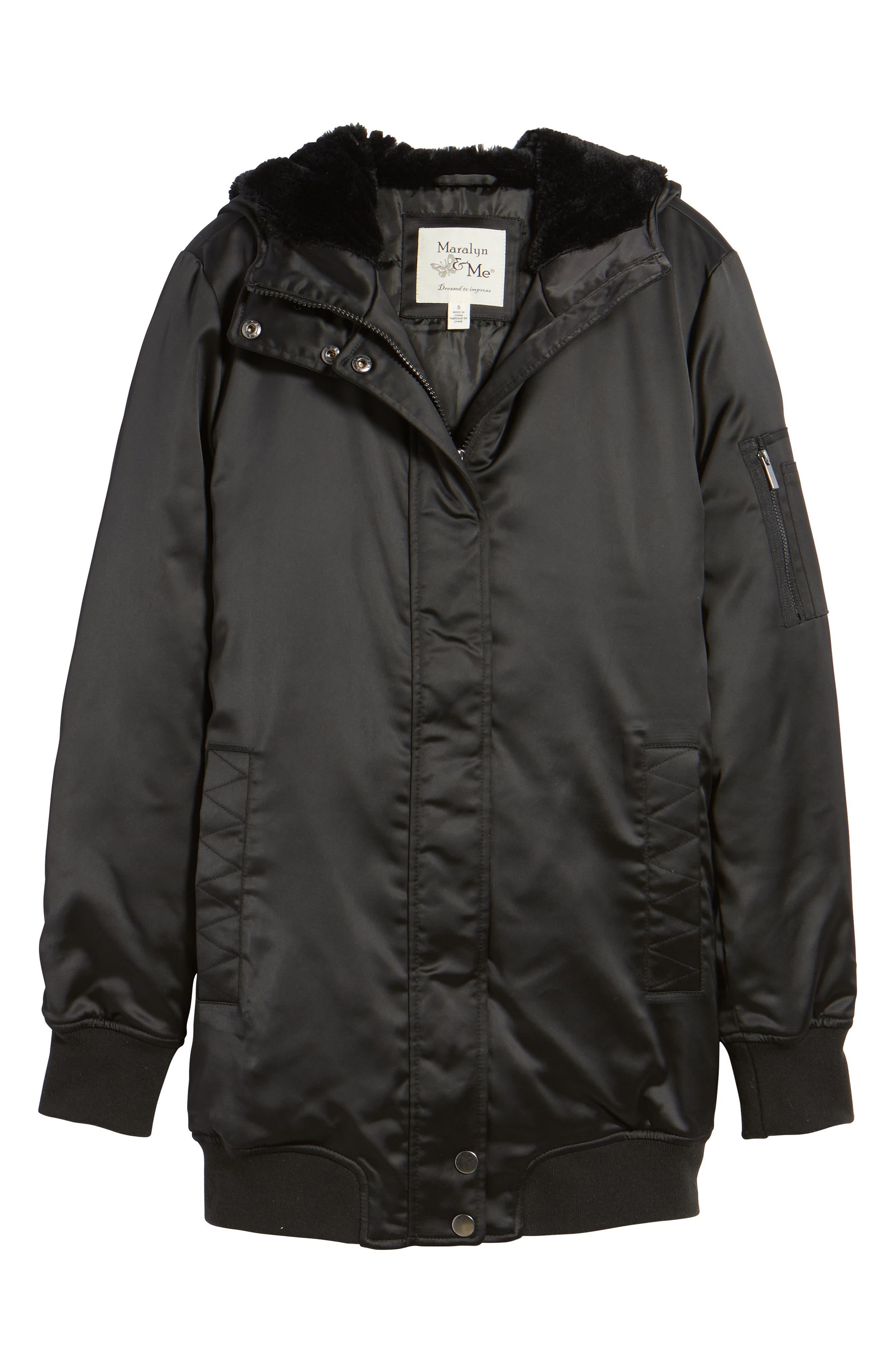 Longline Hooded Bomber Jacket,                             Alternate thumbnail 5, color,                             001