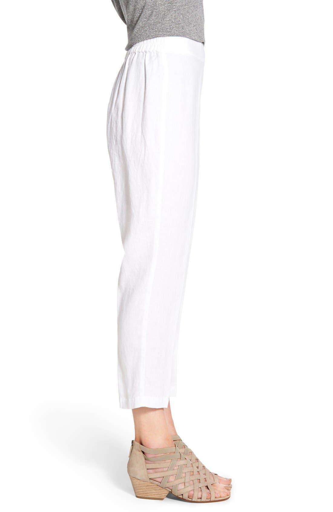 Organic Linen Crop Pants,                             Alternate thumbnail 8, color,                             100