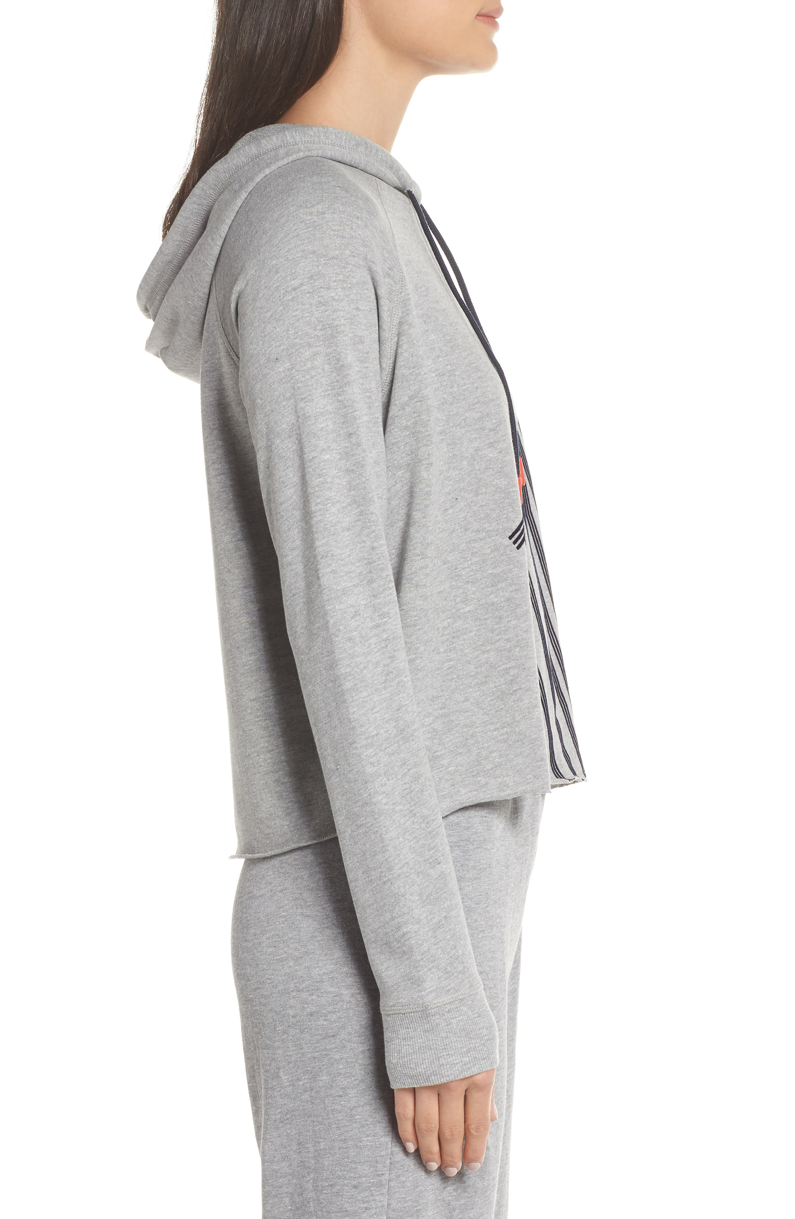 Cropped Lounge Hoodie,                             Alternate thumbnail 3, color,                             HEATHER GREY