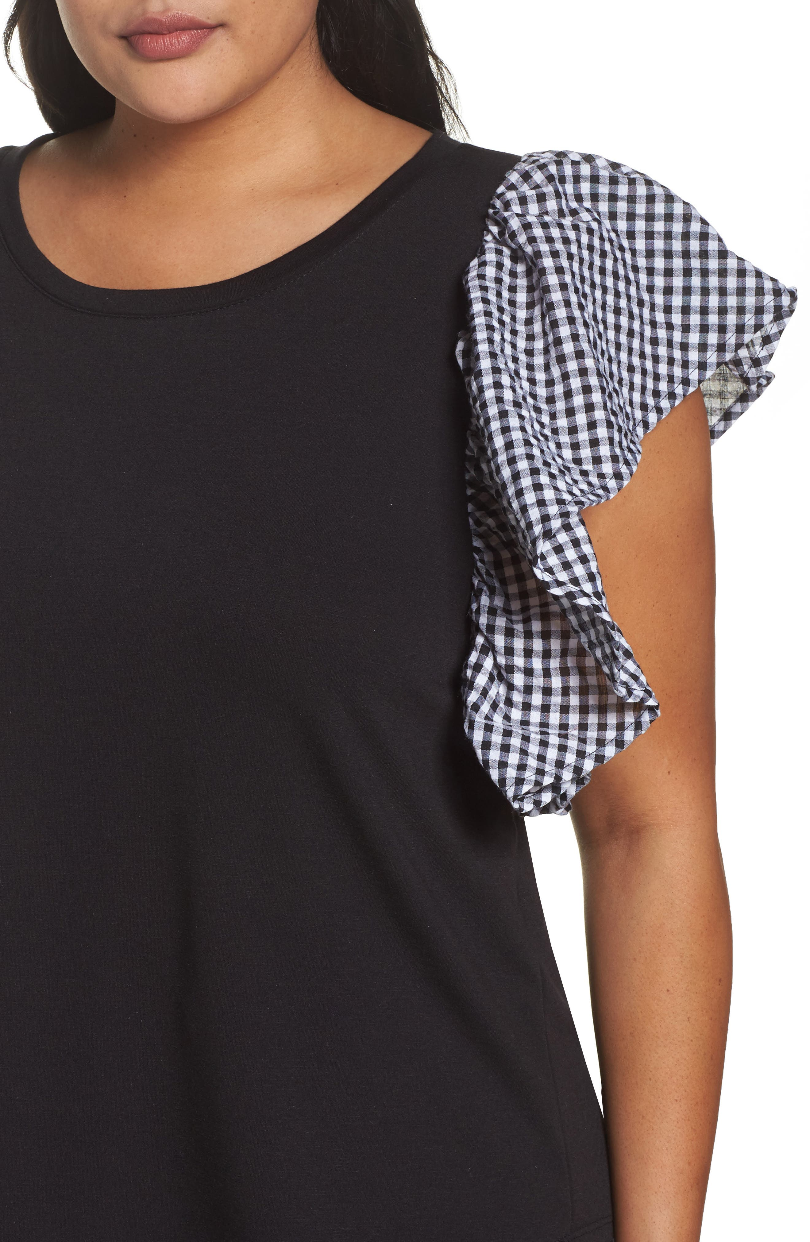 Gingham Ruffle Sleeve Tee,                             Alternate thumbnail 4, color,                             001