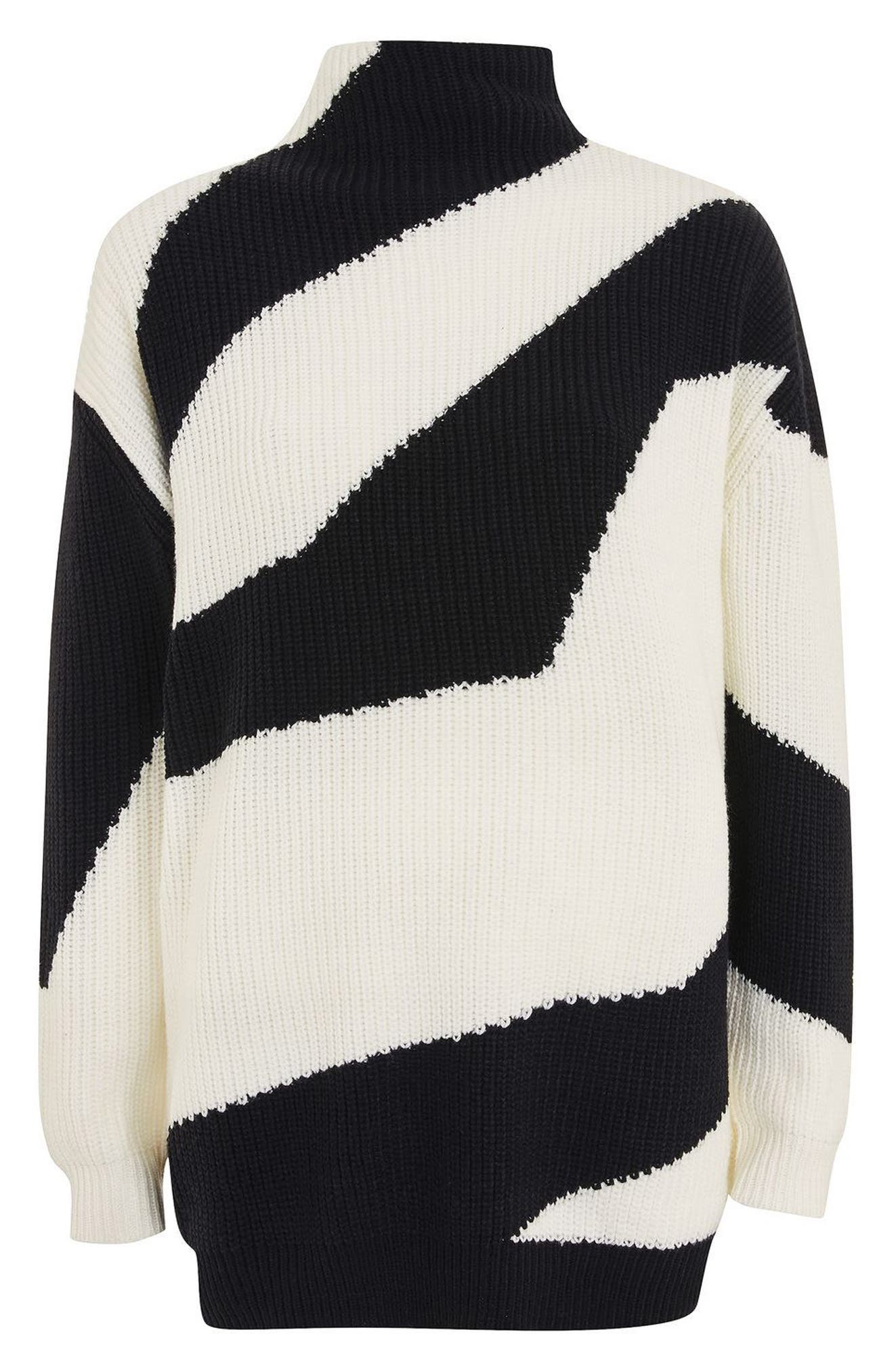 Patterned Funnel Neck Sweater,                             Alternate thumbnail 3, color,