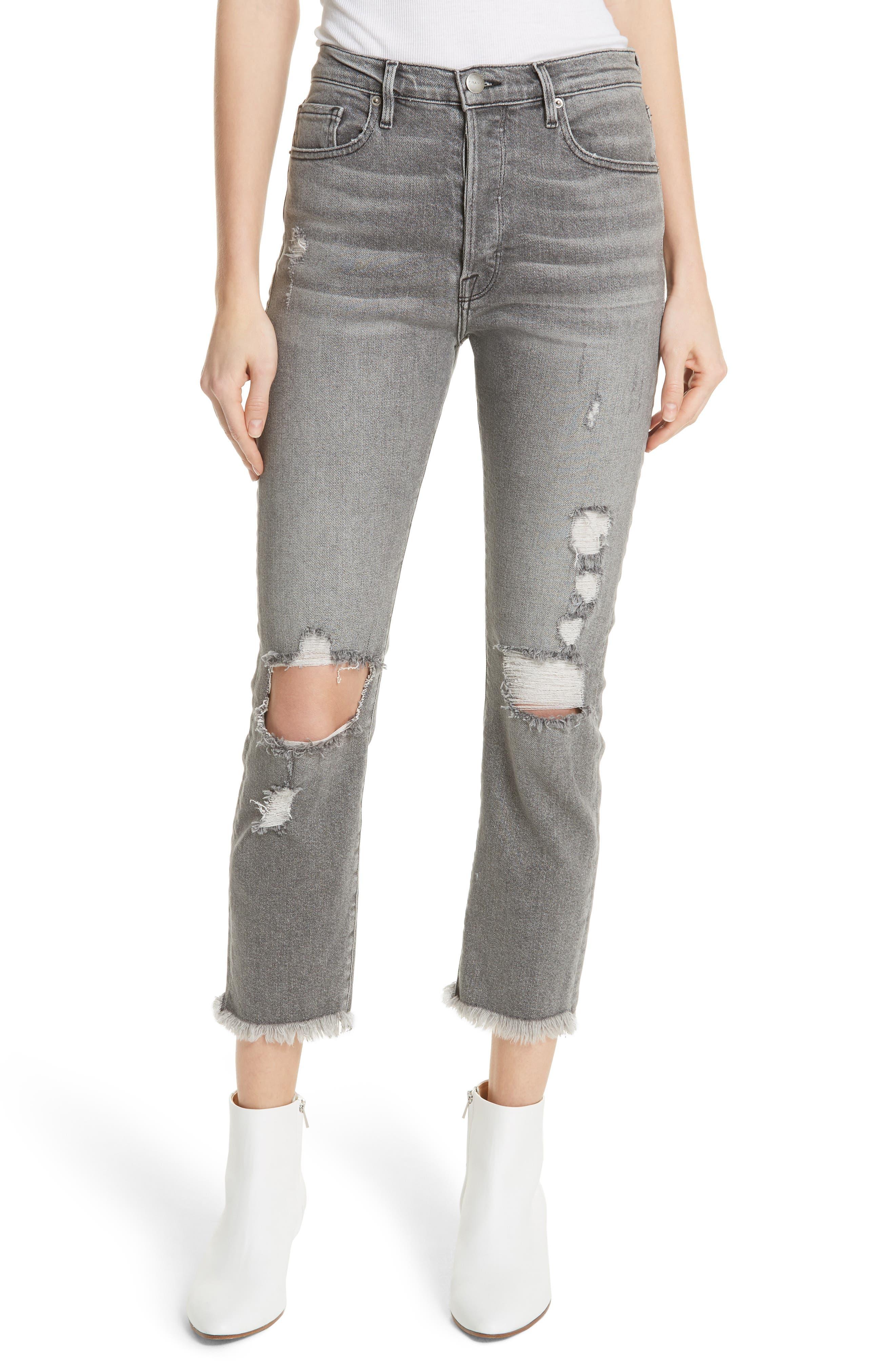 Le Original High Waist Raw Edge Jeans,                             Main thumbnail 1, color,                             COLD ASH