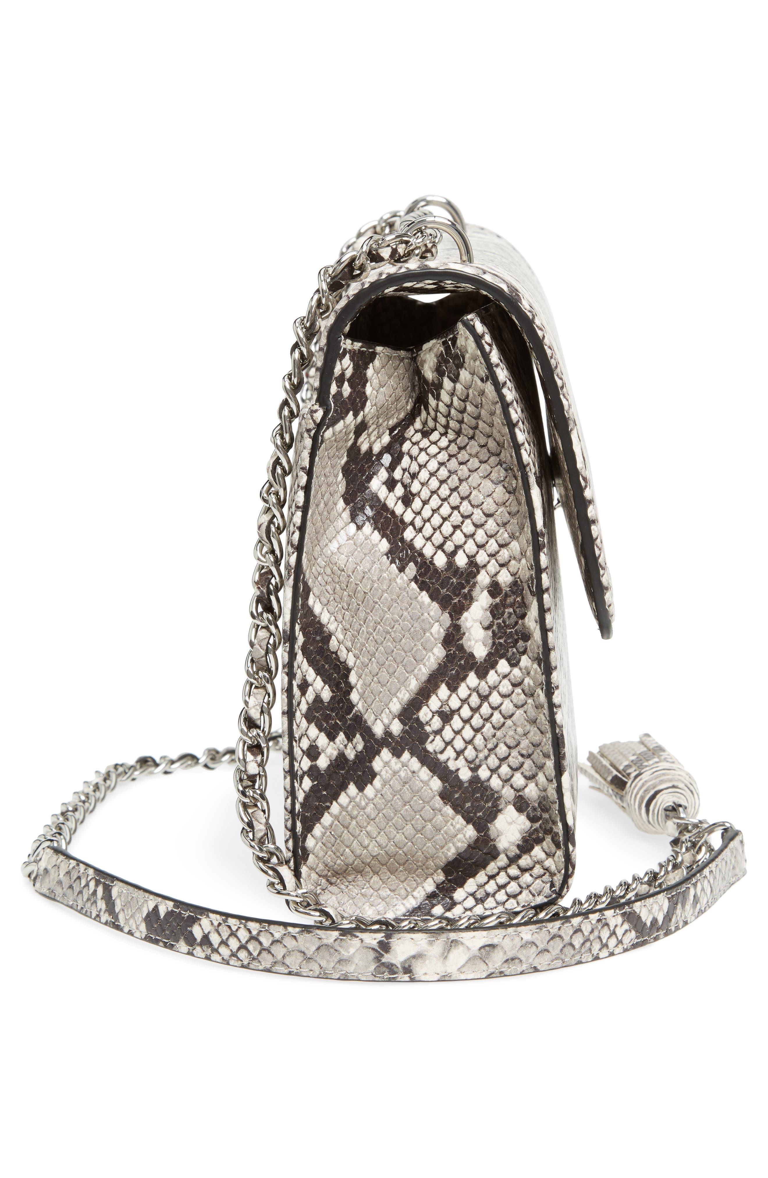 Fleming Convertible Leather Shoulder Bag,                             Alternate thumbnail 5, color,                             001