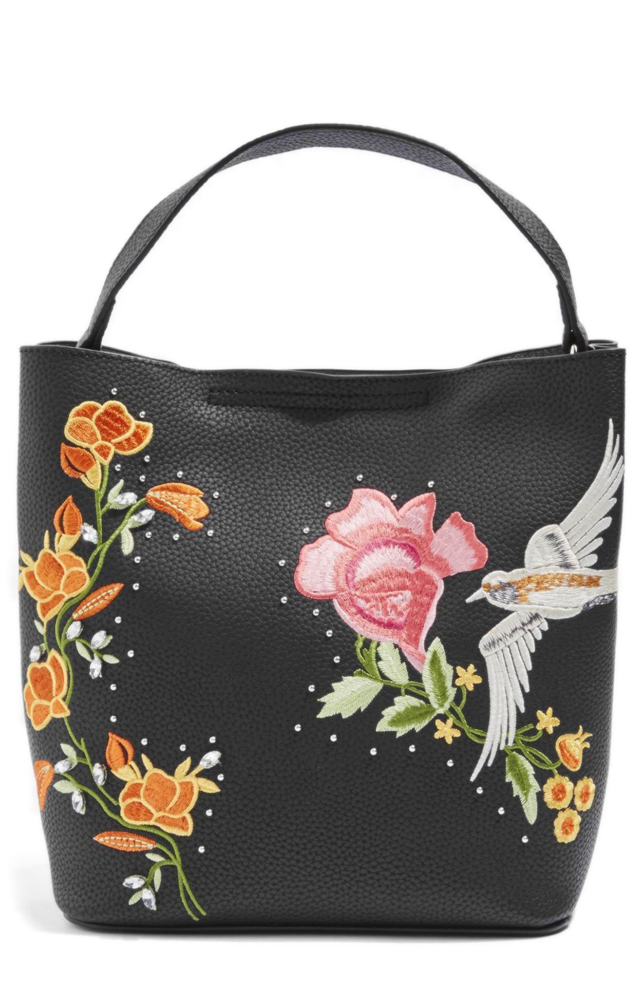 Embellished Faux Leather Tote Bag,                             Main thumbnail 1, color,                             001