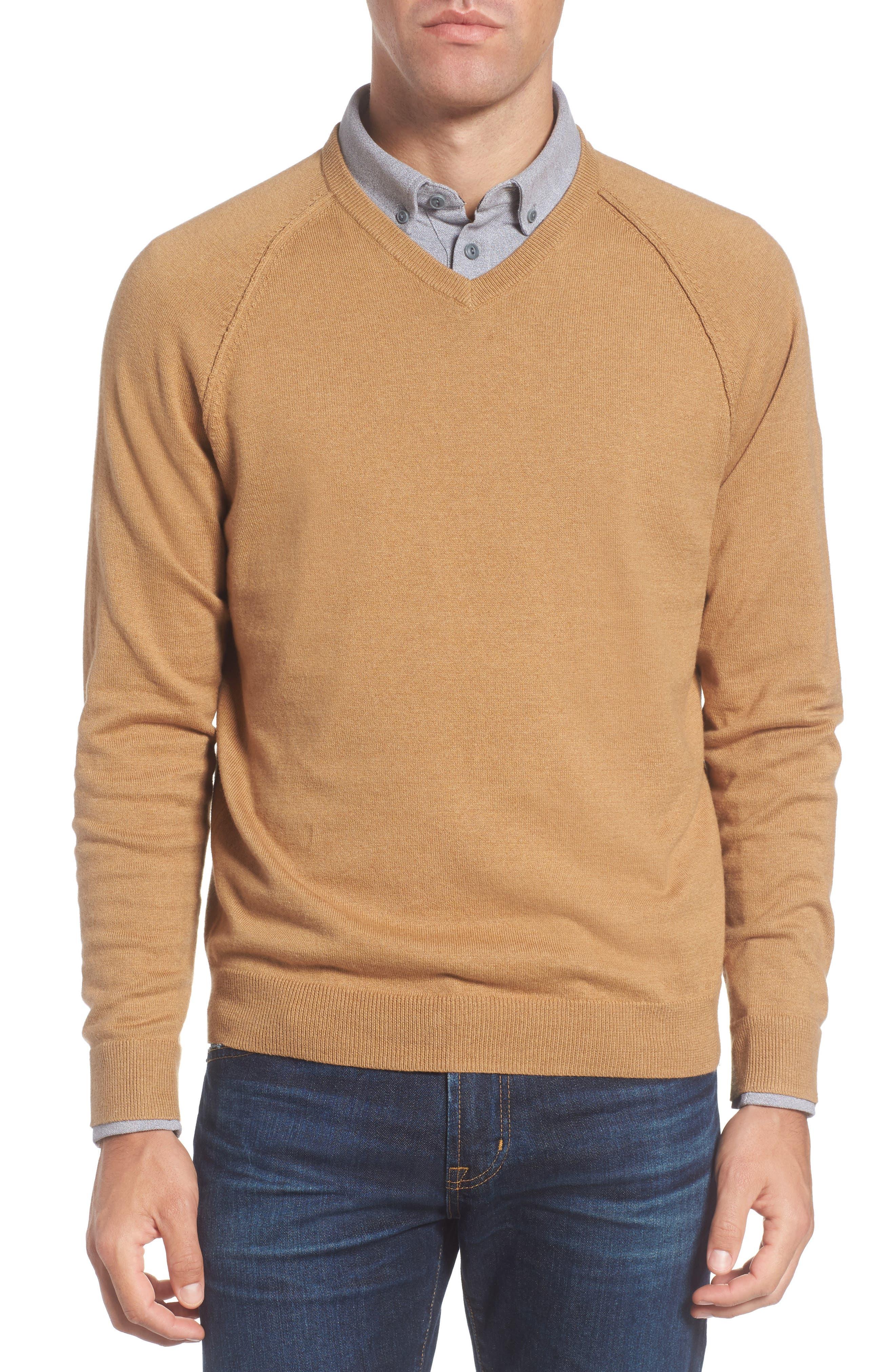 Saddle Shoulder Cotton & Cashmere V-Neck Sweater,                             Main thumbnail 5, color,