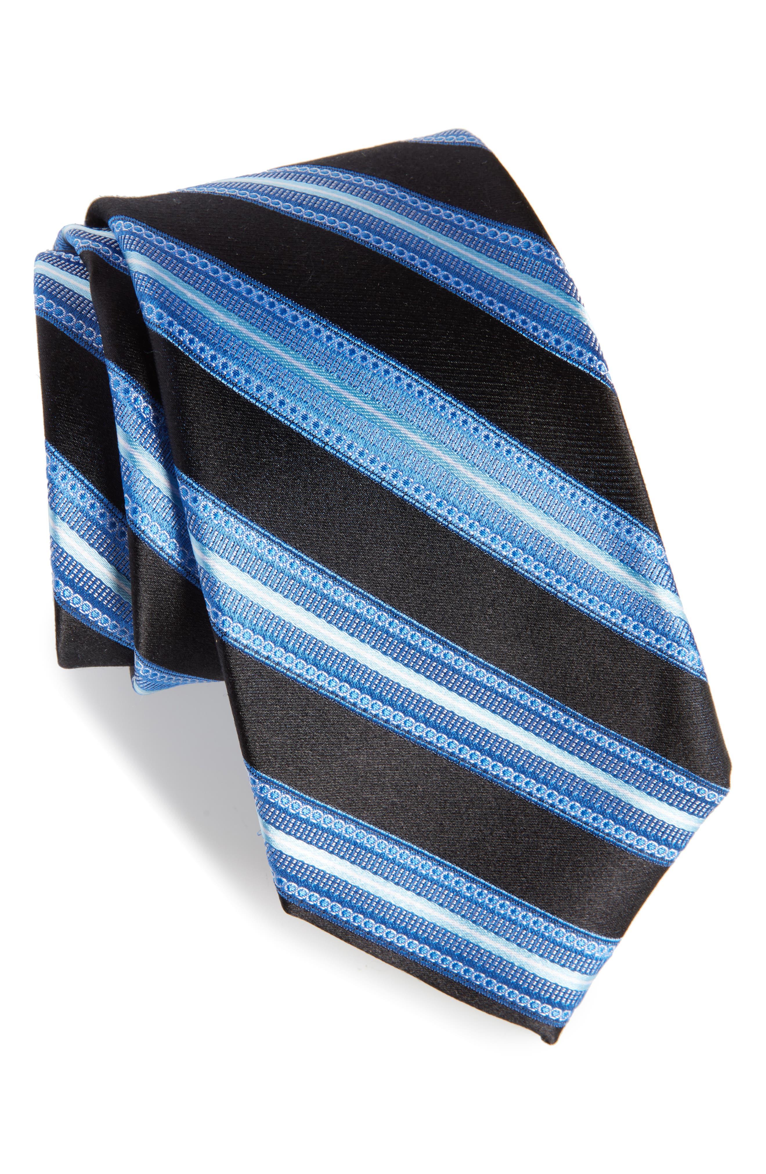 Nordstrom Men's Shop Sunshine Stripe Silk Tie,                             Main thumbnail 1, color,                             001