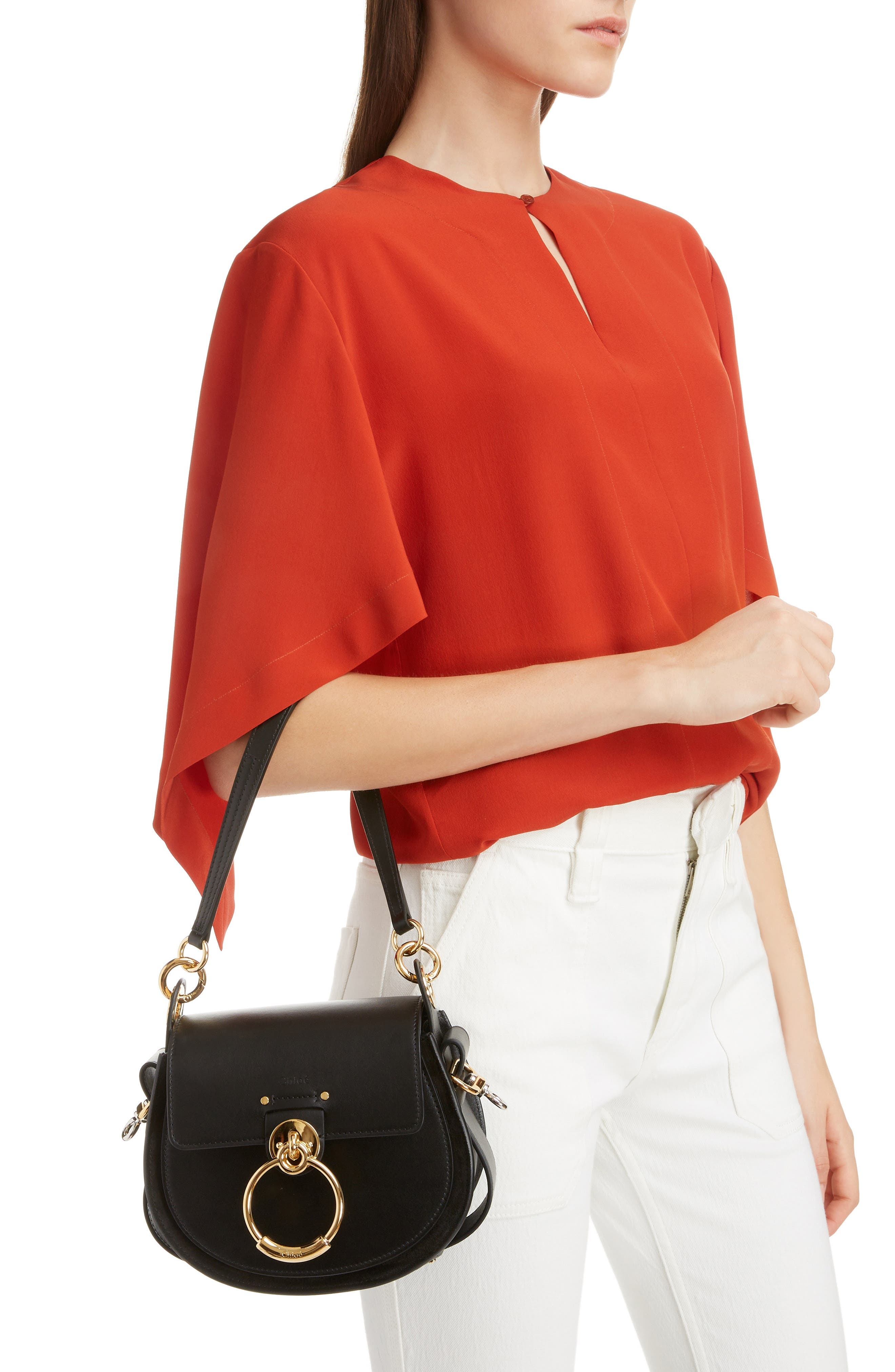 Small Tess Calfskin Leather Shoulder Bag,                             Alternate thumbnail 2, color,                             BLACK