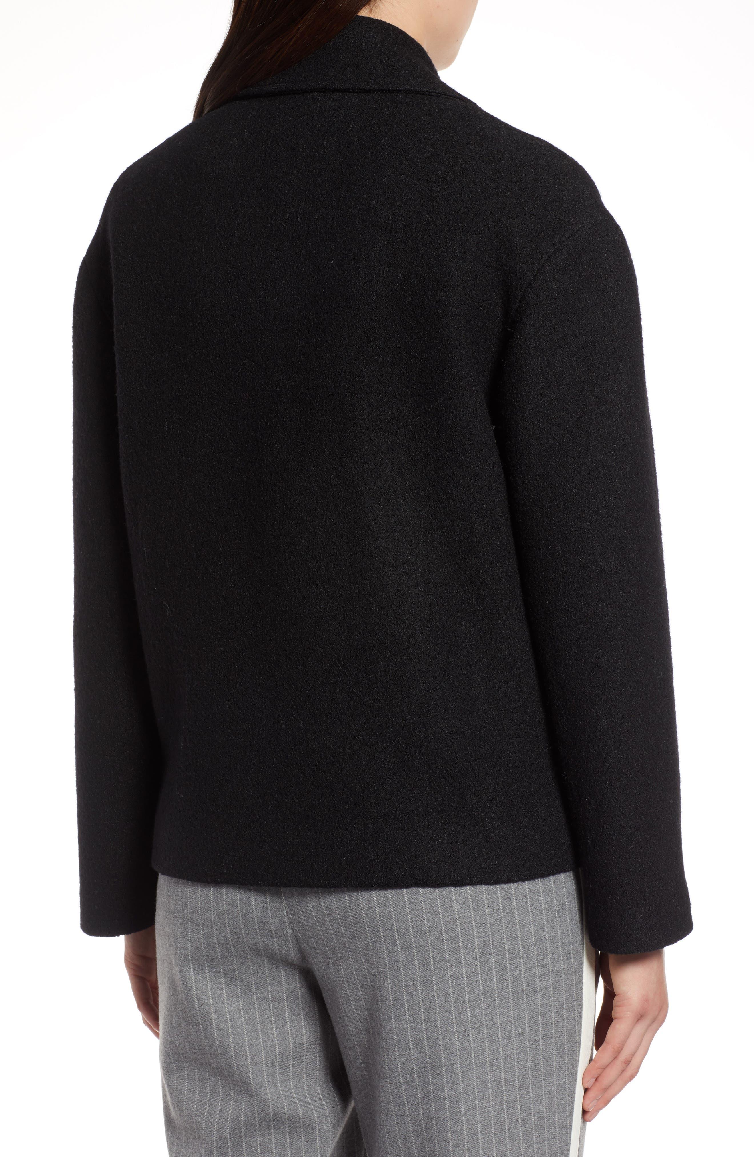 Boiled Wool Blend Moto Jacket,                             Alternate thumbnail 2, color,                             001