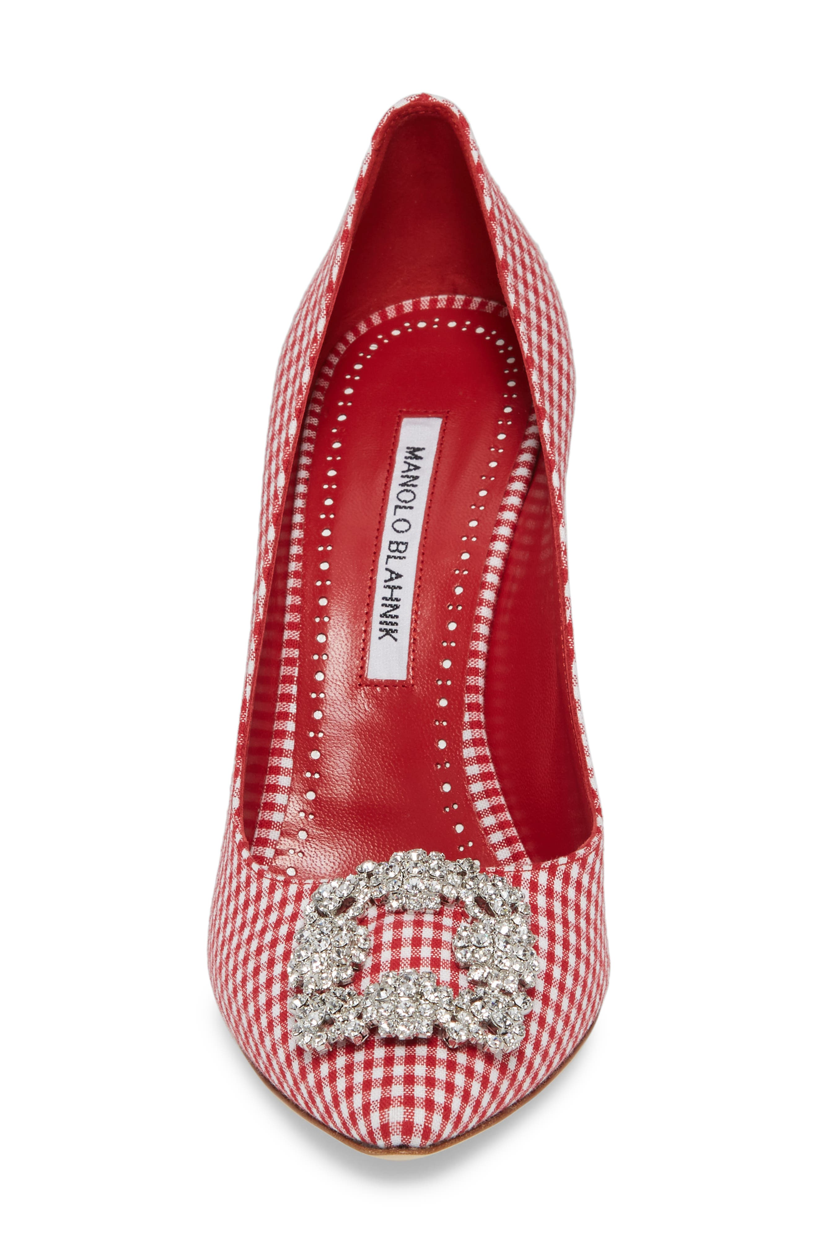 'Hangisi' Ornamented Pump,                             Alternate thumbnail 4, color,                             RED GINGHAM