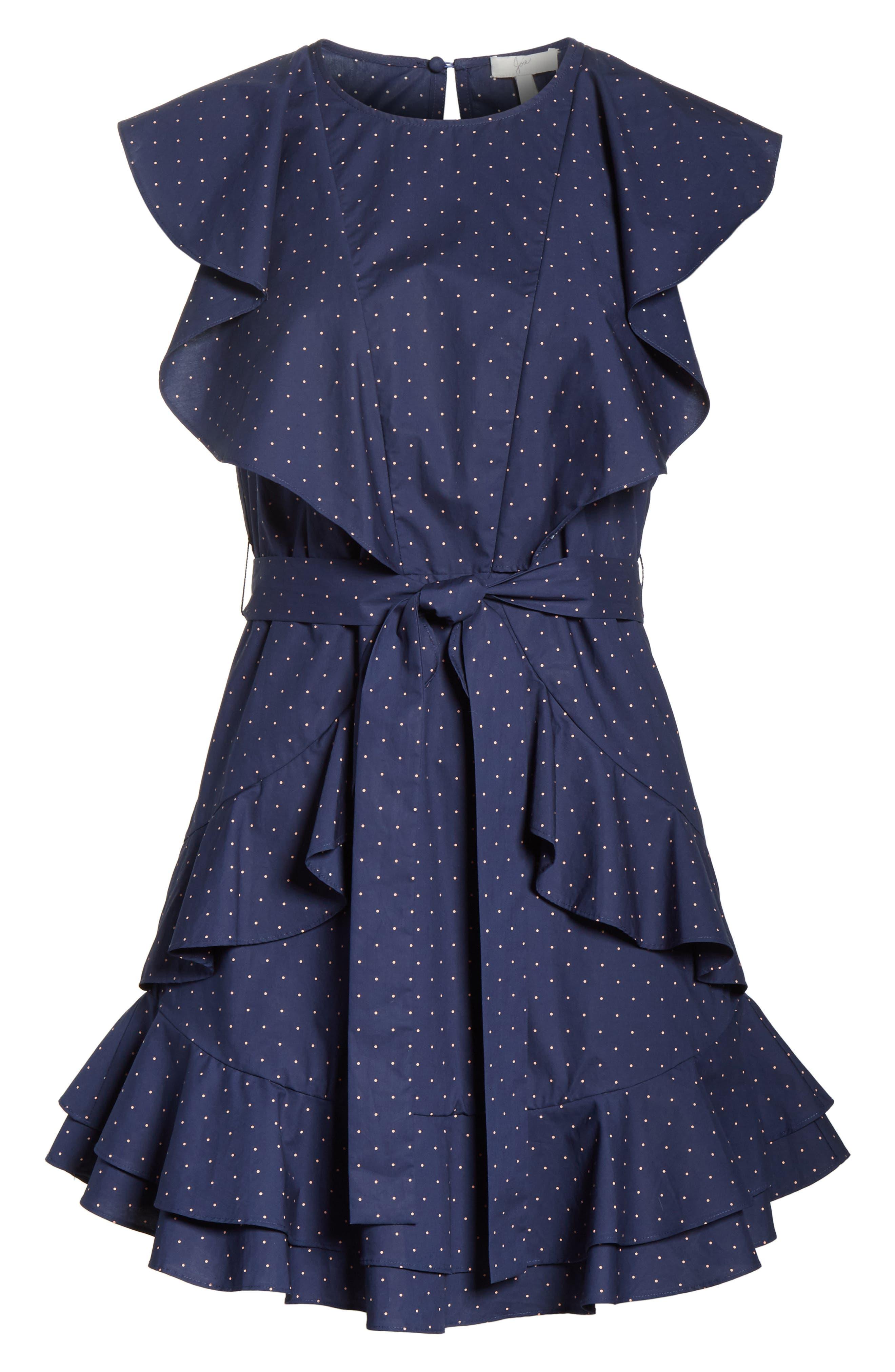 Malachy Ruffle Dot Cotton Dress,                             Alternate thumbnail 6, color,